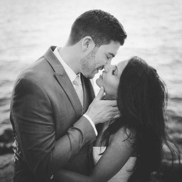 romantic wedding photo black white film