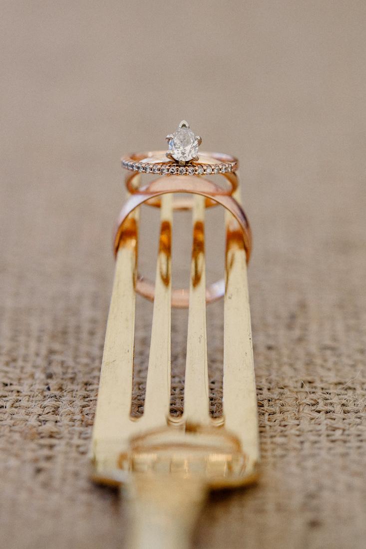 Rose gold fork wedding rings