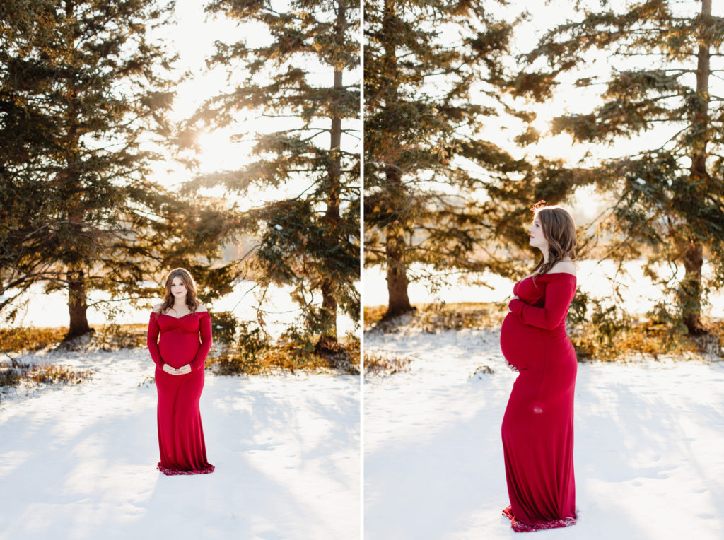 niagara maternity photos red dress beautiful