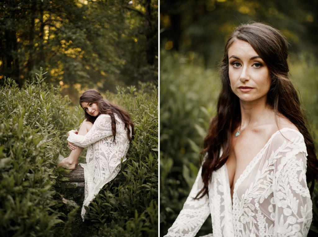 beautiful girl lace white robe boudoir niagara photographer