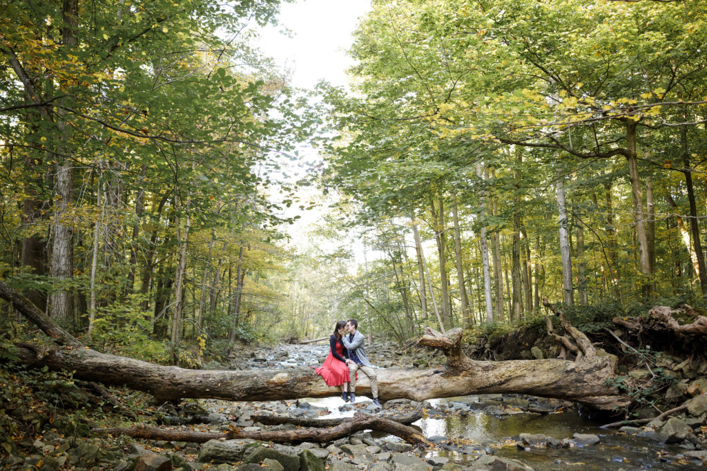 beautiful landscape river couple engagement photography