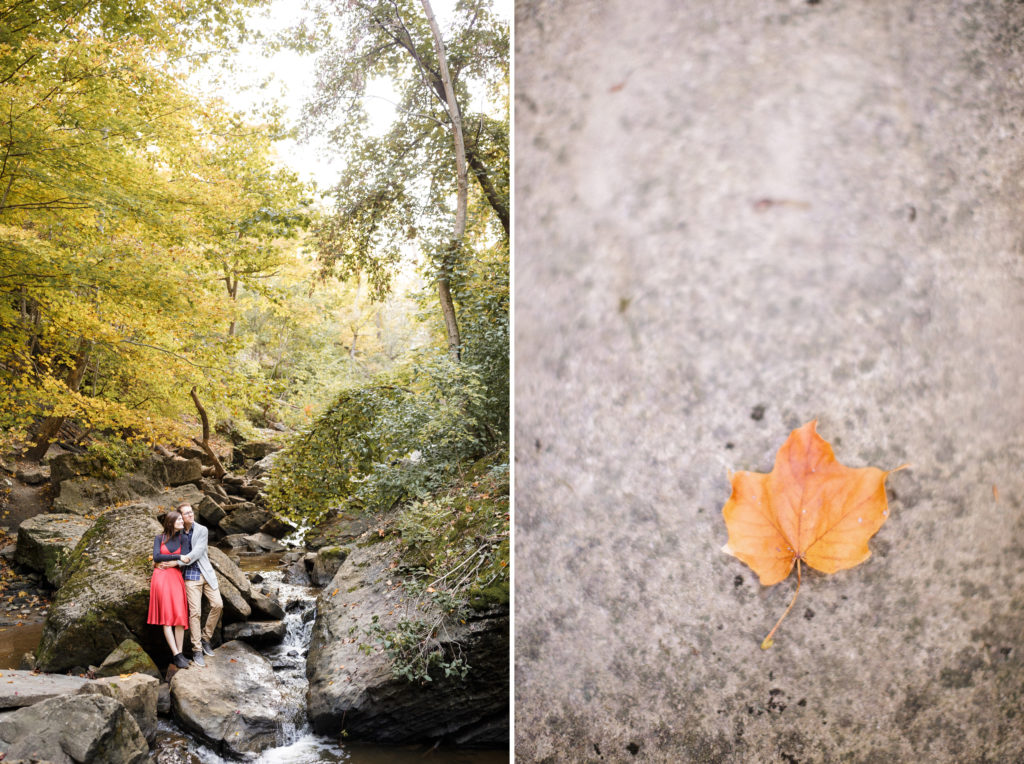 cute couple and leaf niagara engagement photographer
