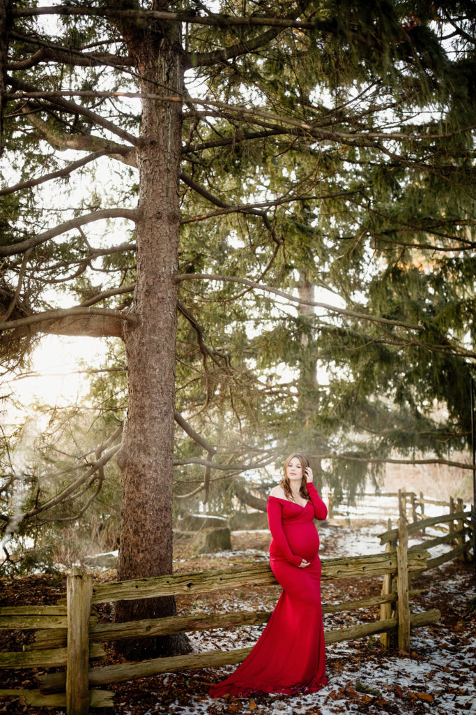 beautiful winter maternity photoshoot niagara photographer
