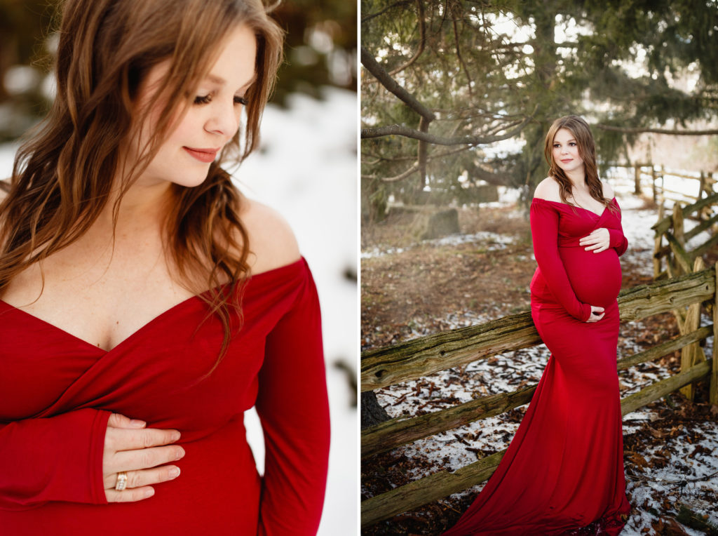 fine art maternity photography niagara winter forest trees