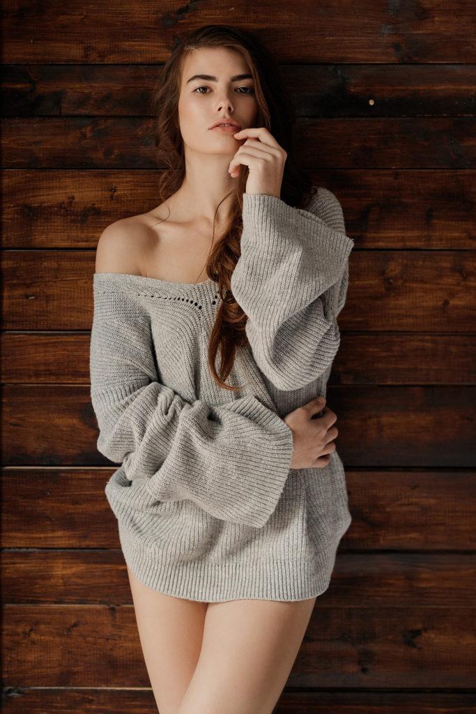 Niagara boudoir sensual gray sweater natural light casual