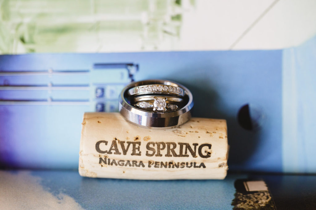 wedding rings on wine cork cave spring winery