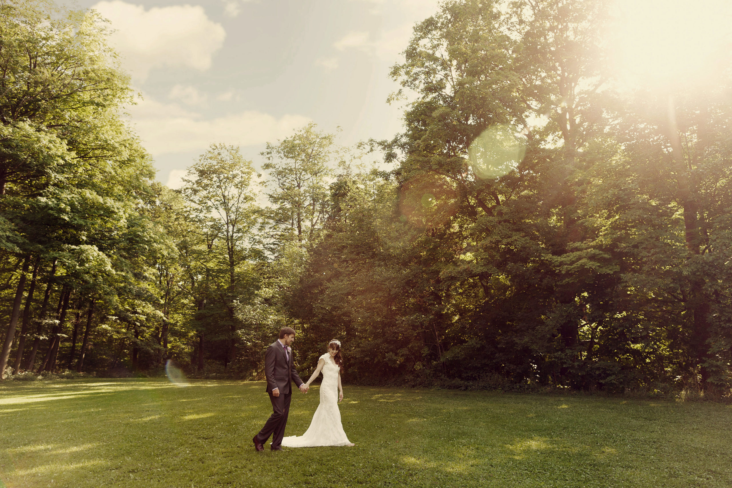 c Balls Falls Portrait Wedding Field Trees Sunlight