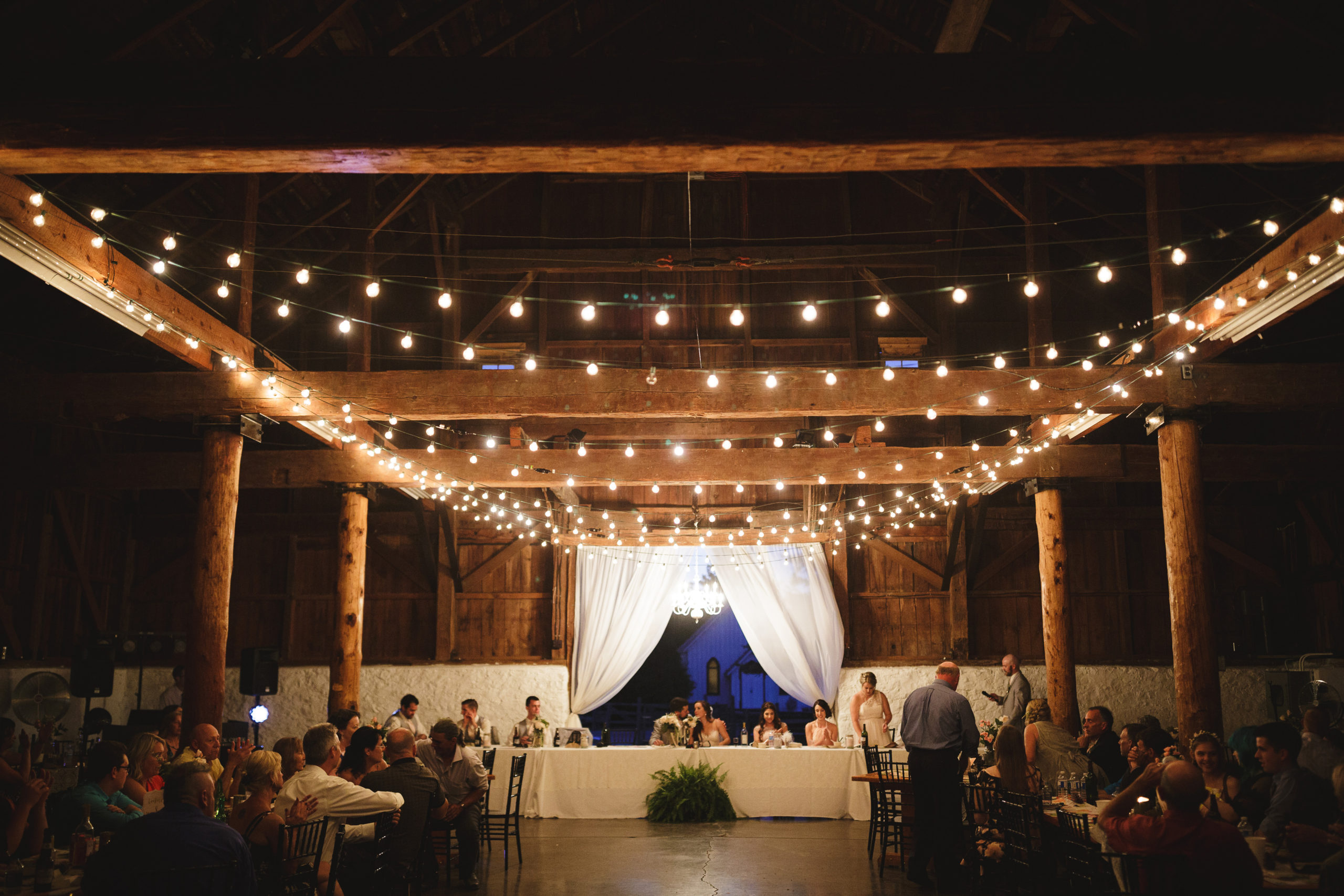 d Balls Falls Big Barn Wedding Reception Indoor