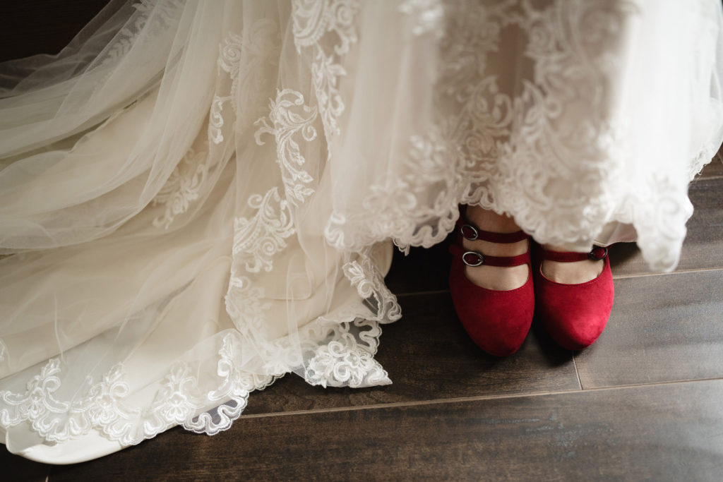 bride red shoes dress getting ready niagara on the lake