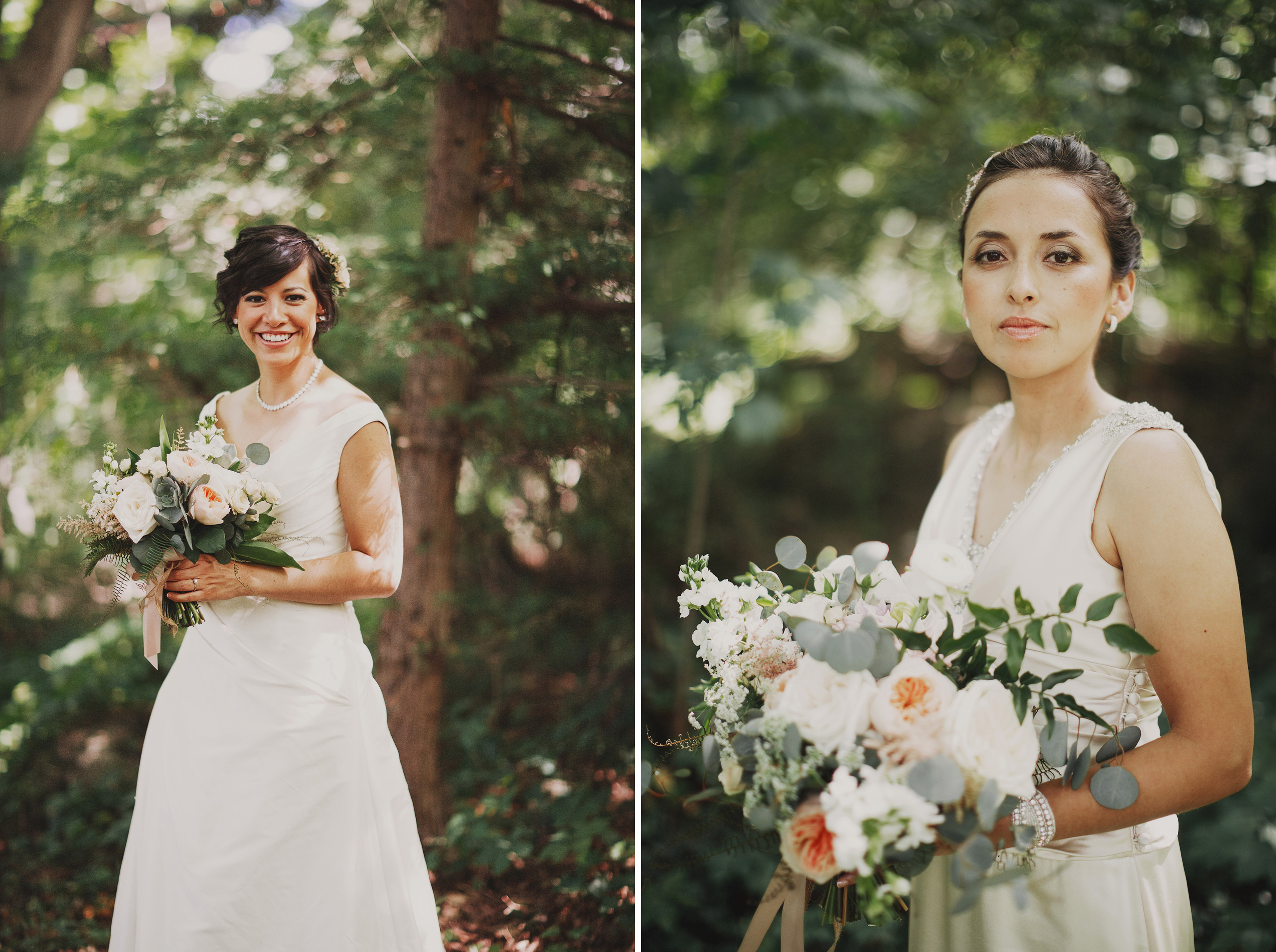 two brides wedding first look niagara on the lake forest bloom and co