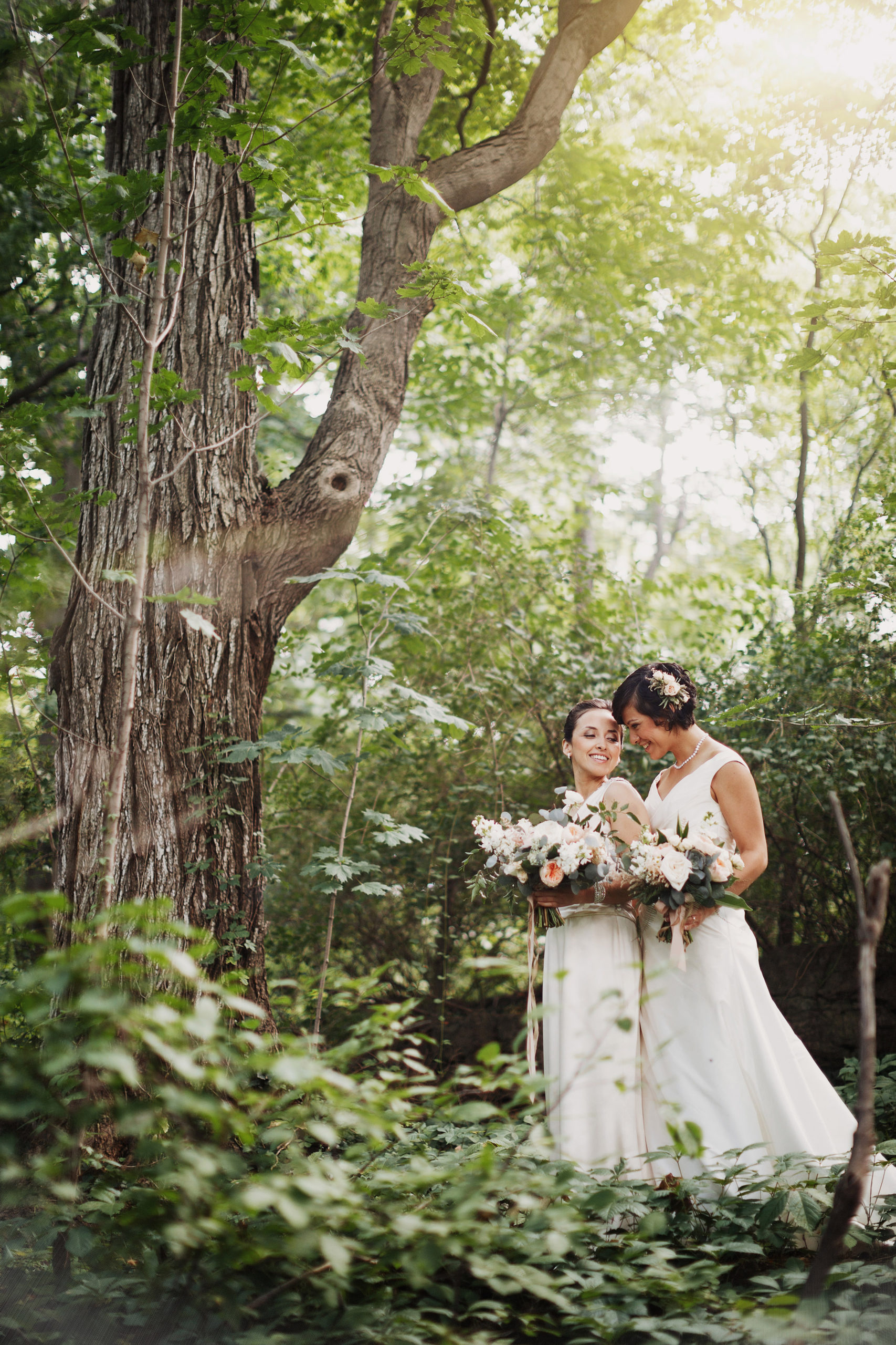 forest two brides same sex lesbian wedding niagara photographer