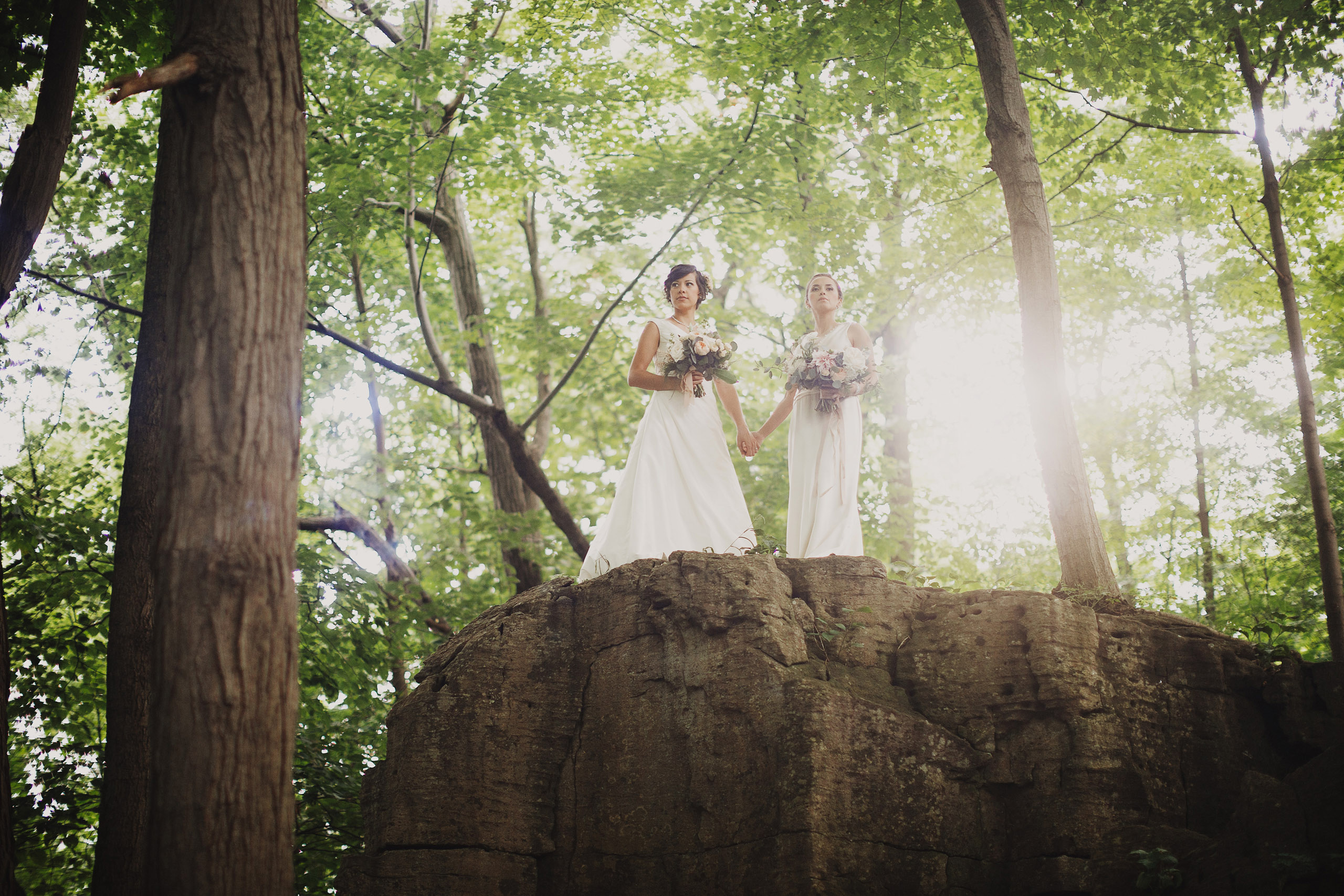 romantic wedding photography niagara same sex brides lgbtq forest