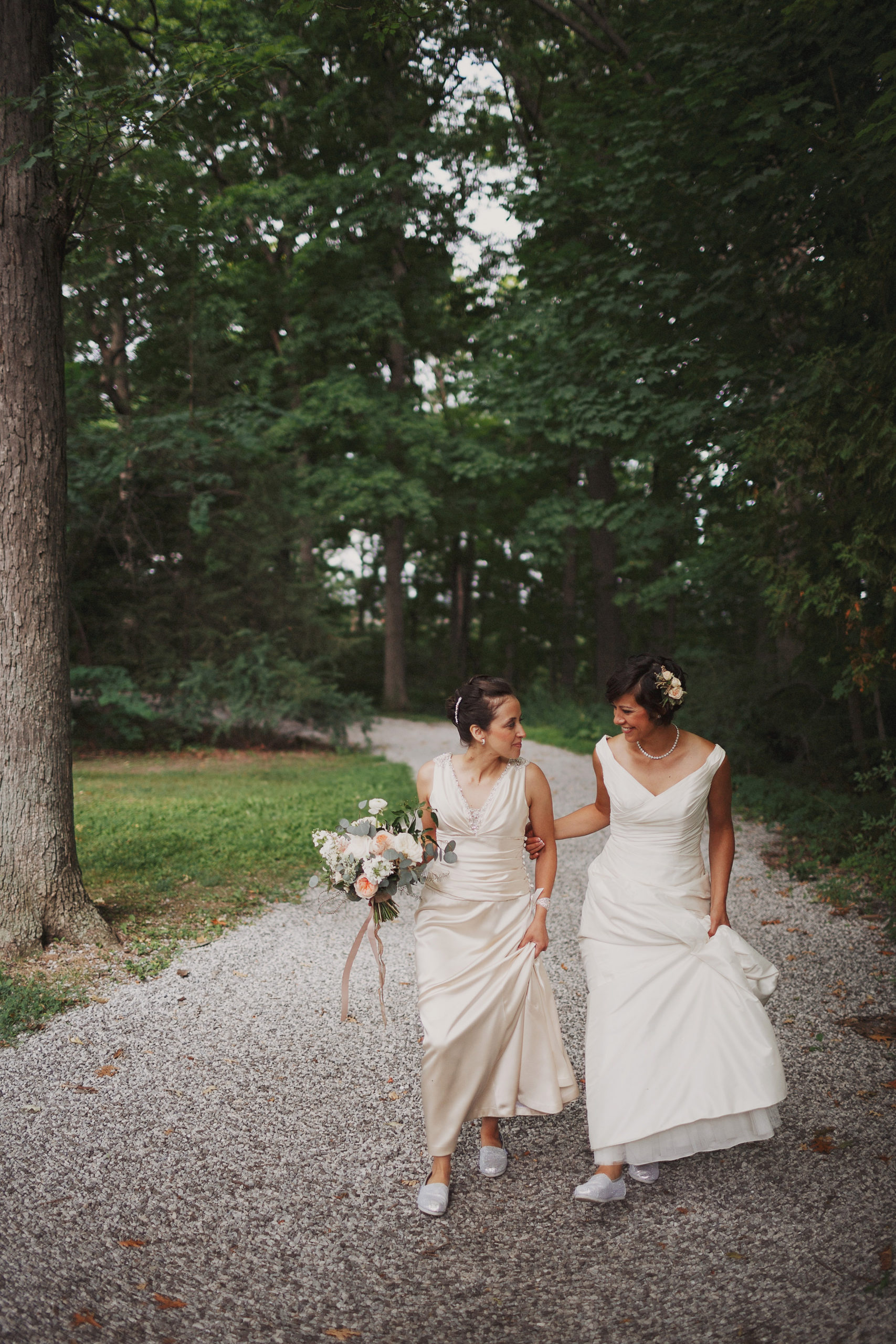 romantic wedding photography niagara same sex brides lgbtq forest