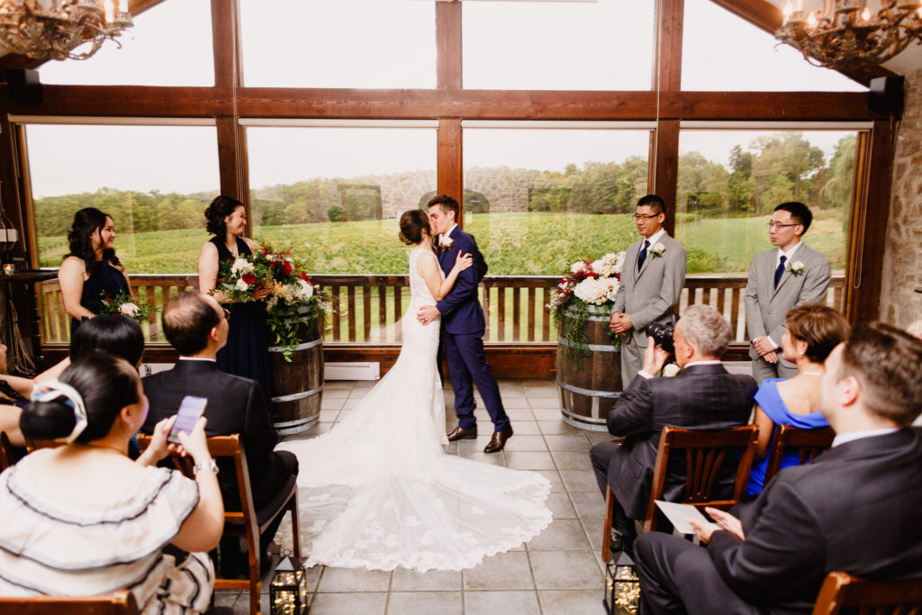 first kiss wedding ceremony carriage house vineland estates winery