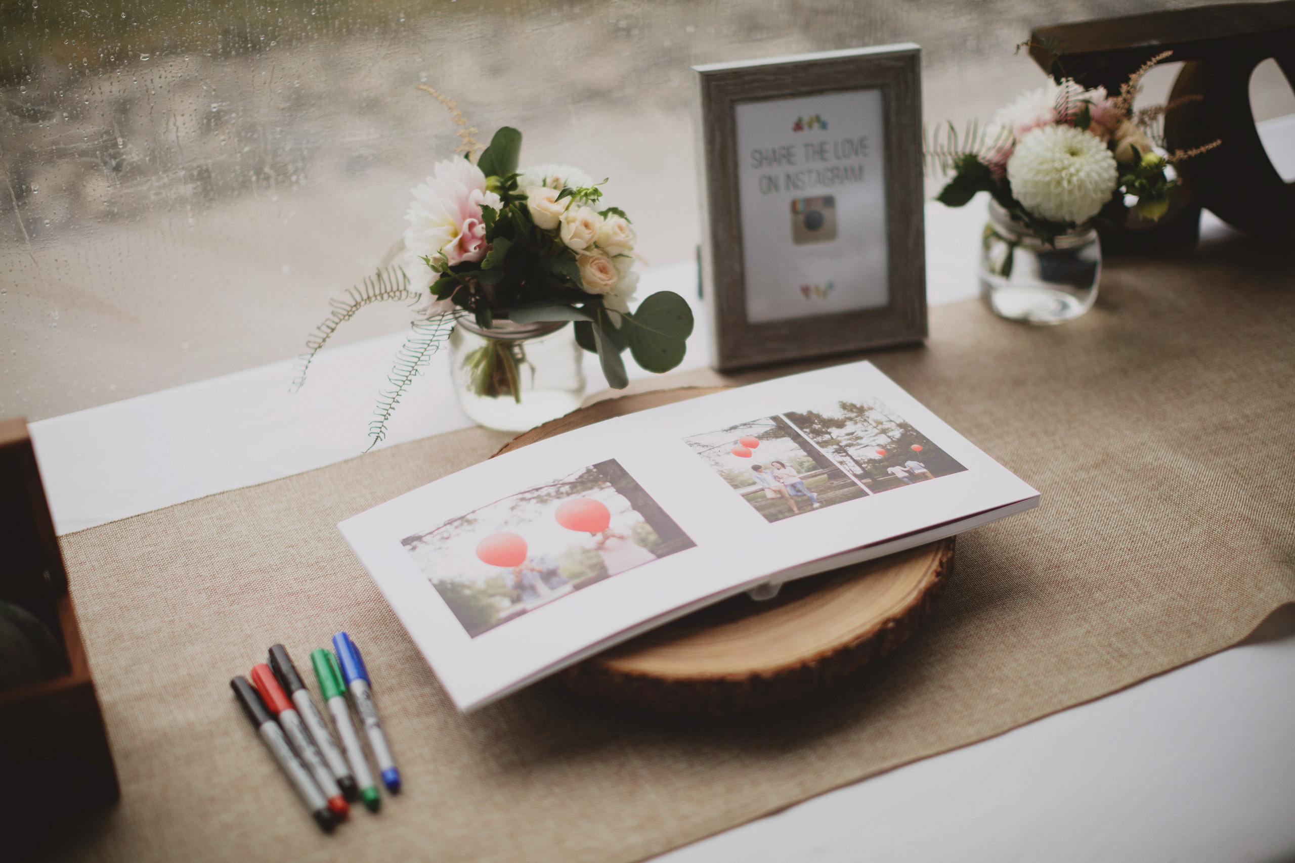 rustic details pink bloom company florals guestbook wedding niagara on the lake