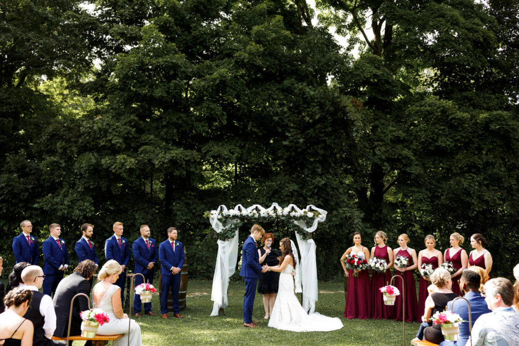 balls falls wedding ceremony outdoor watering can flowers lincoln ontario