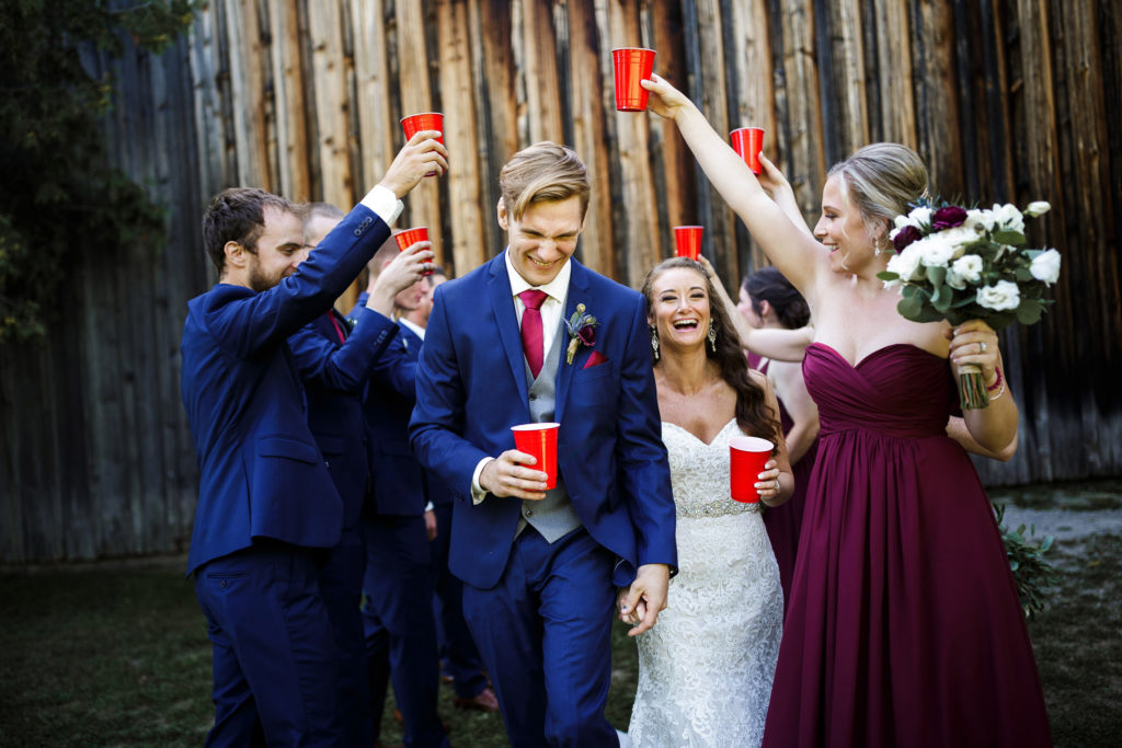 bride groom wedding balls falls red cup party blue suit barn lincoln photographer
