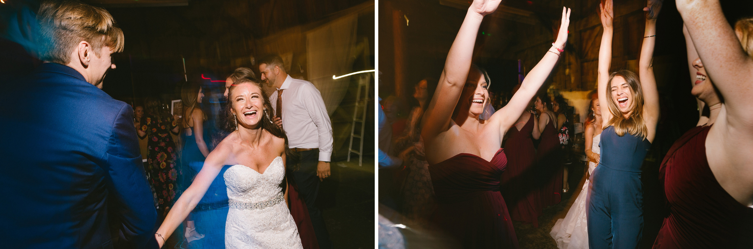 wedding reception dancing photography long exposure creative balls falls barn wedding