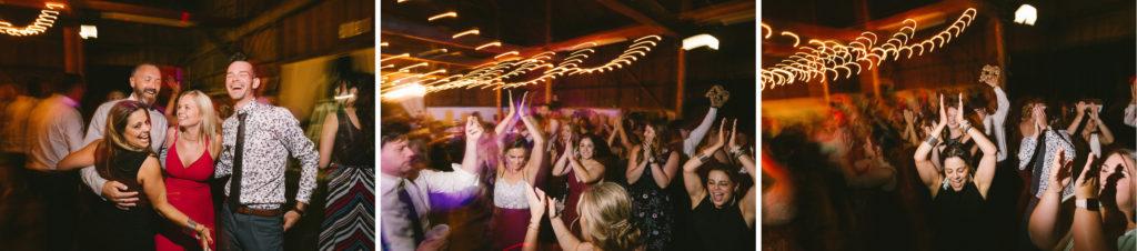 wedding reception dancing photography long exposure creative balls falls barn wedding