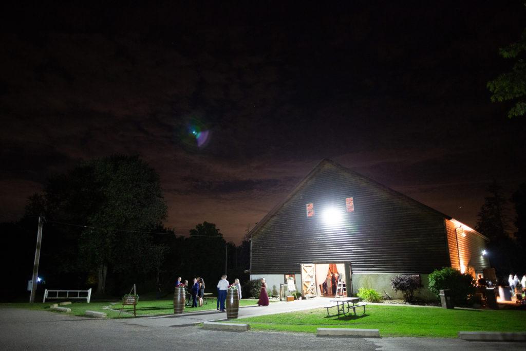 balls falls big barn wedding reception at night summer brooker events niagara