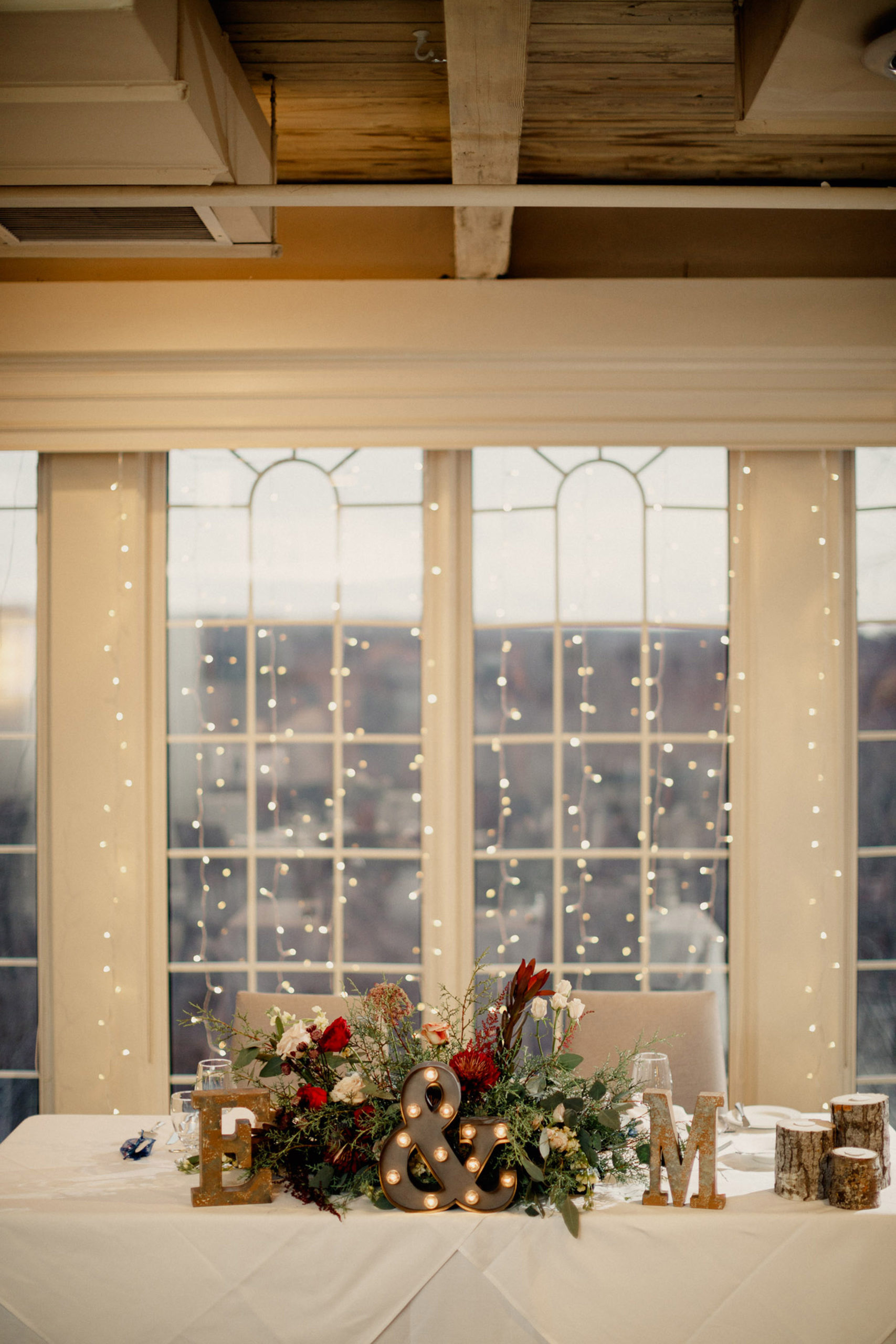 windows room inn on the twenty sweetheart table wedding reception winter