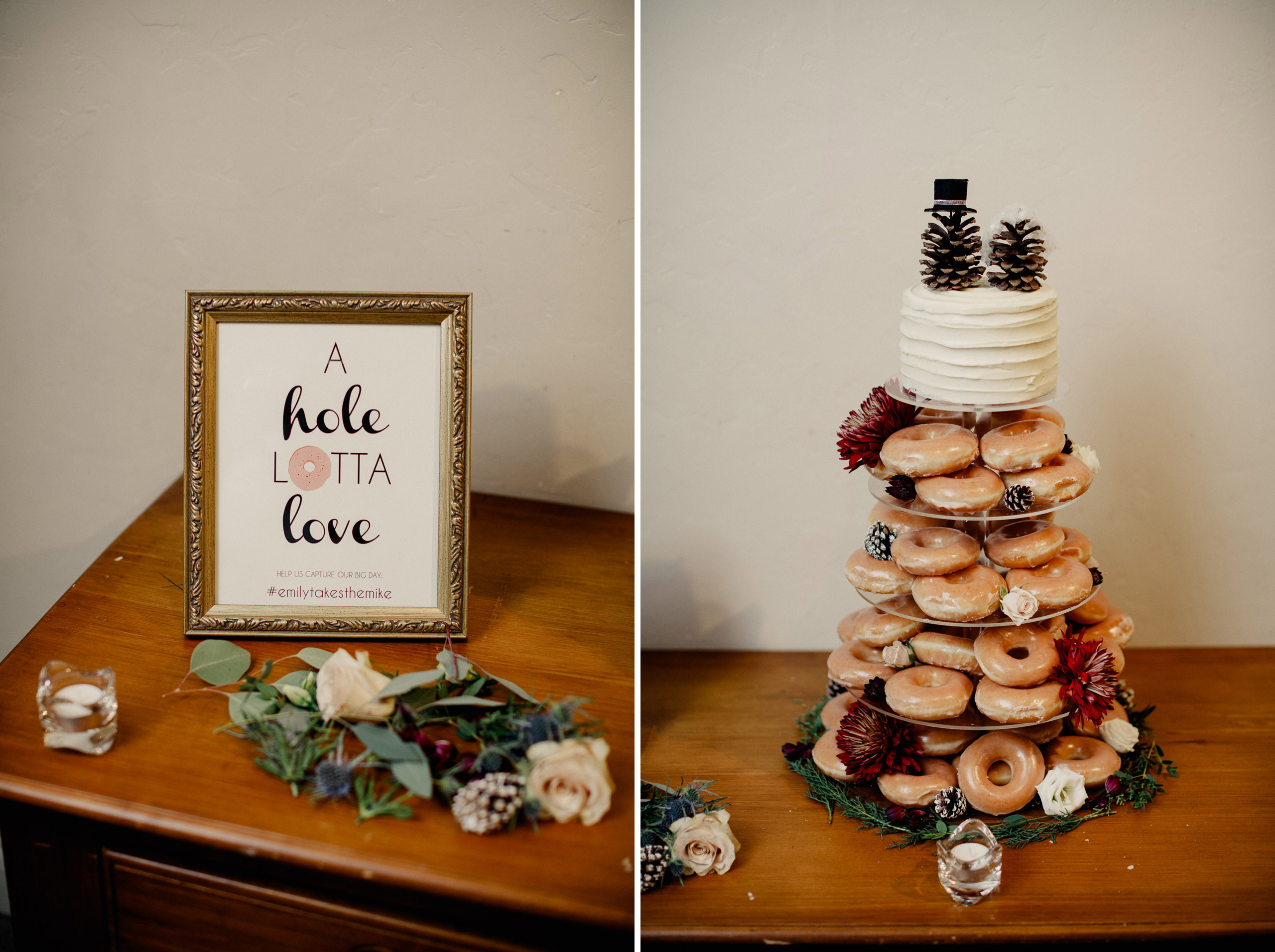 winter wedding reception doughnut cake niagara photographer