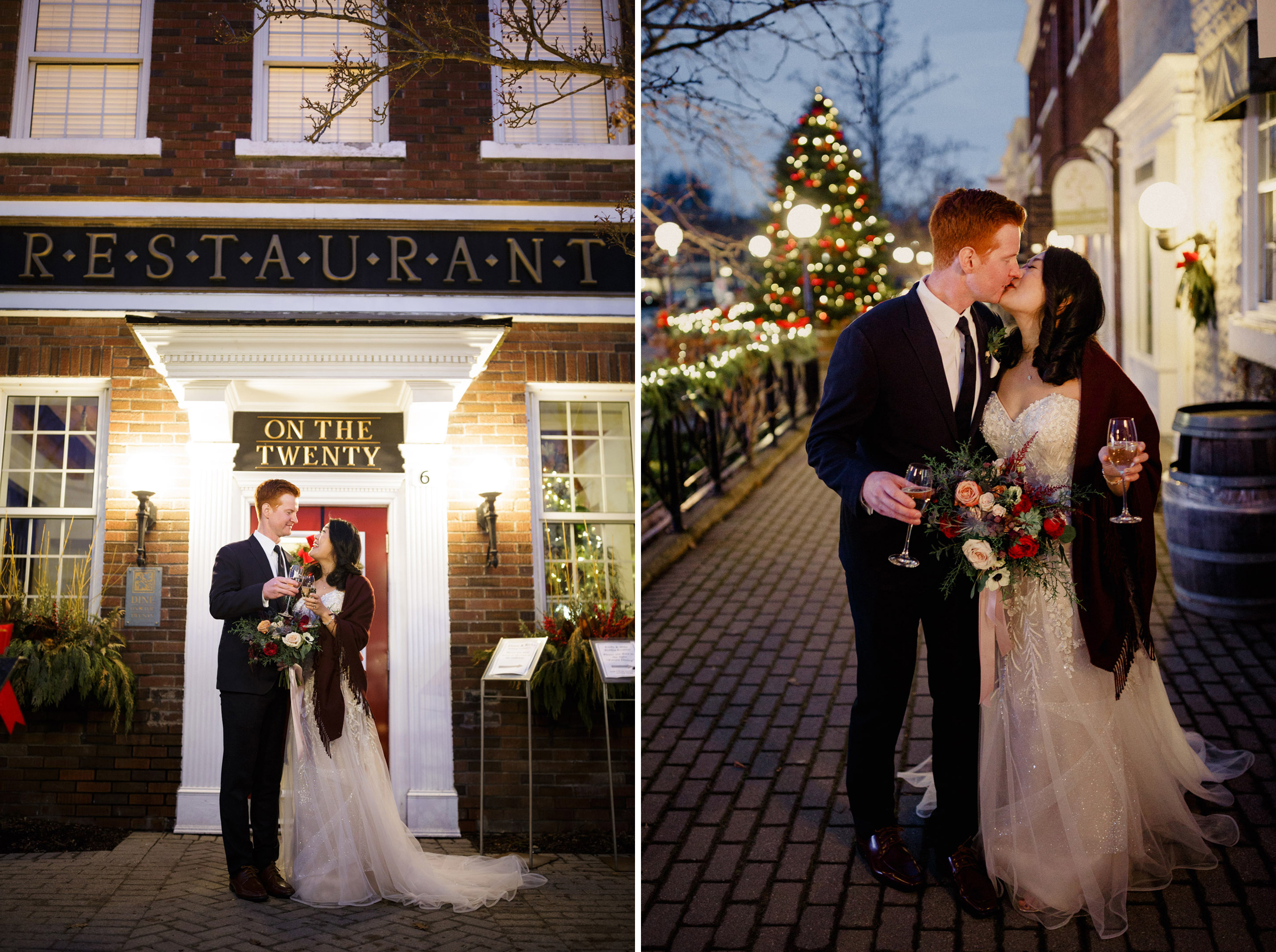 inn on the twenty jordan night wedding winter kiss romantic walk