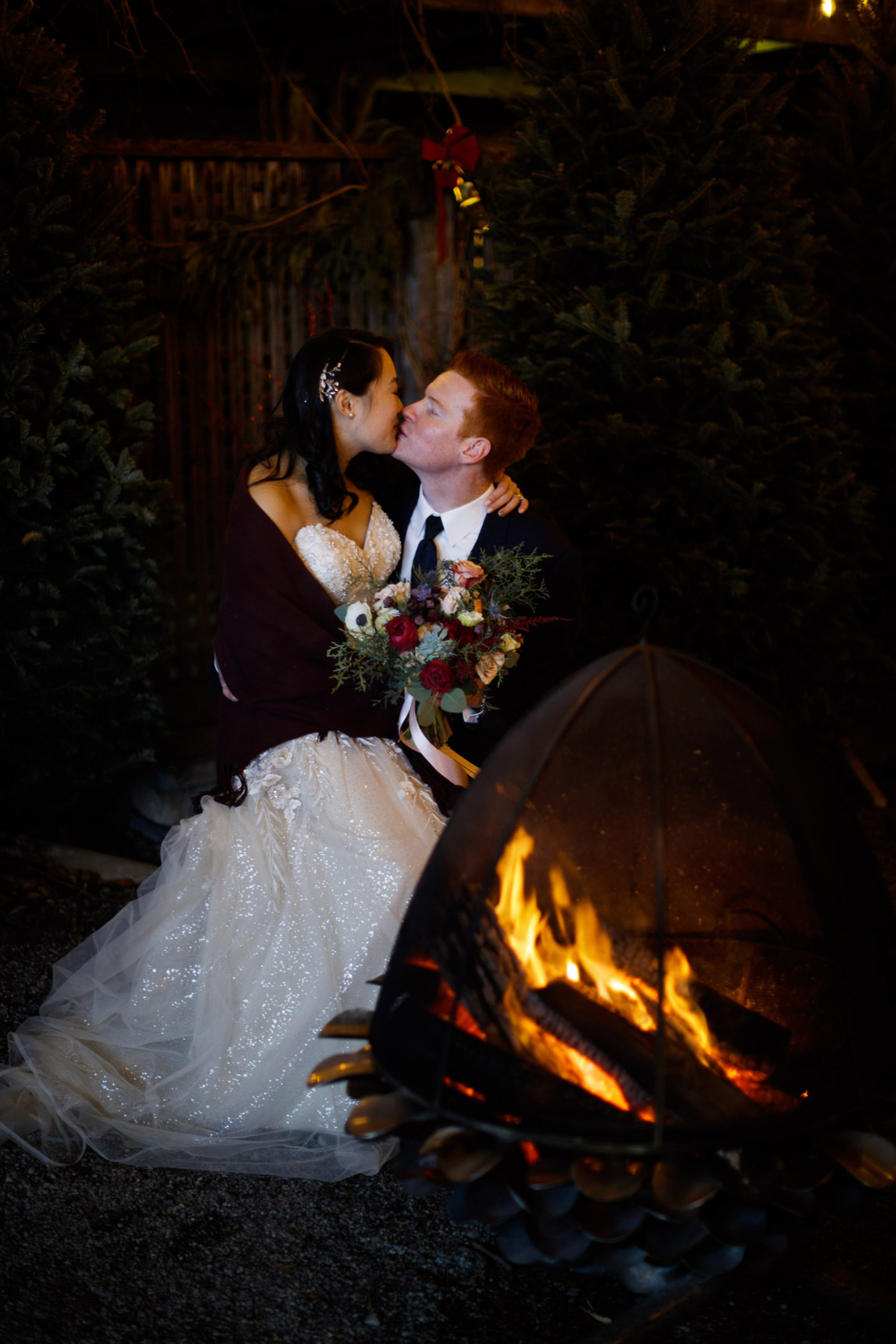 inn on the twenty night jordan fireside couple wedding bride groom