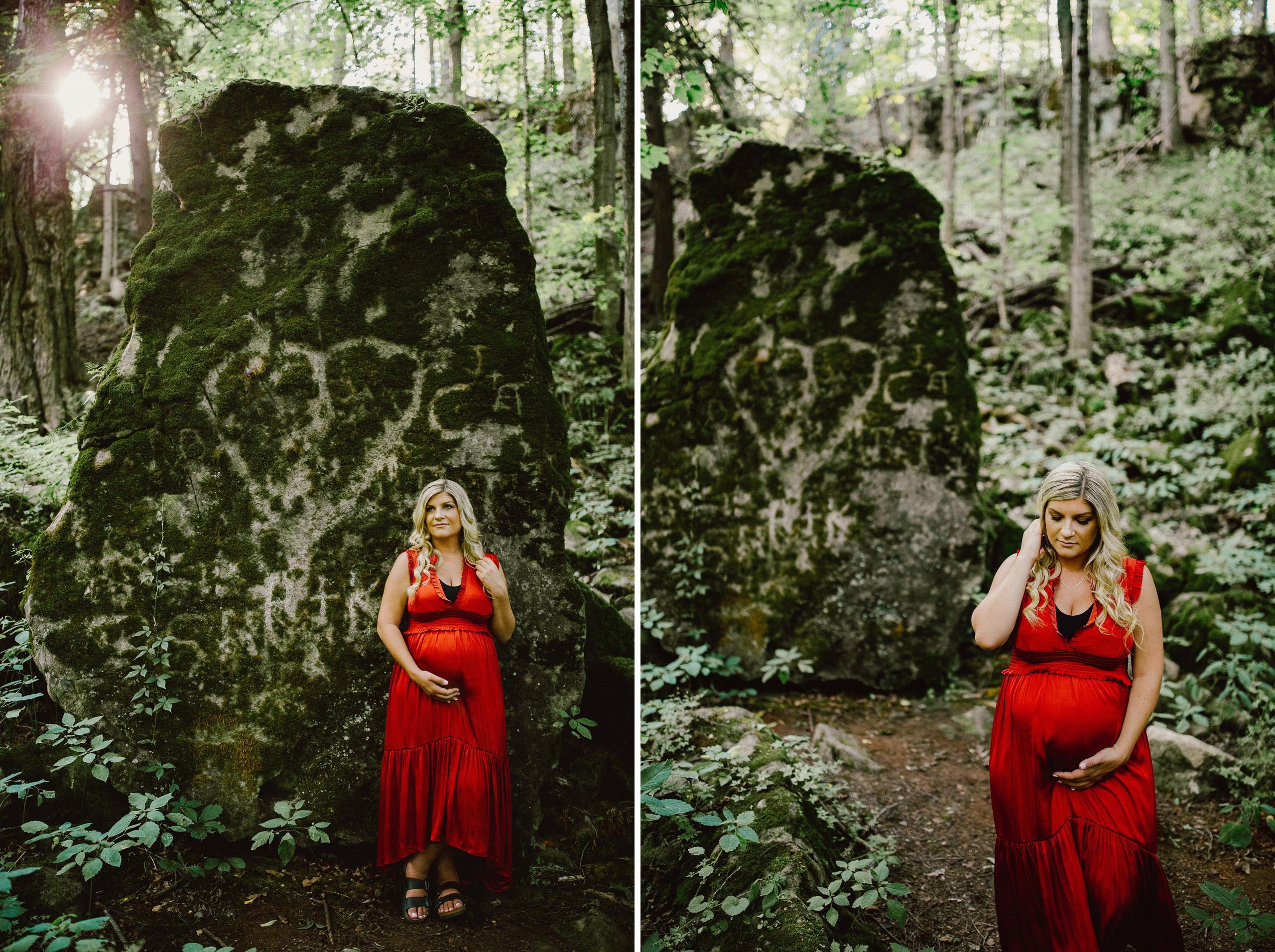 maternity photographer niagara outdoor red dress