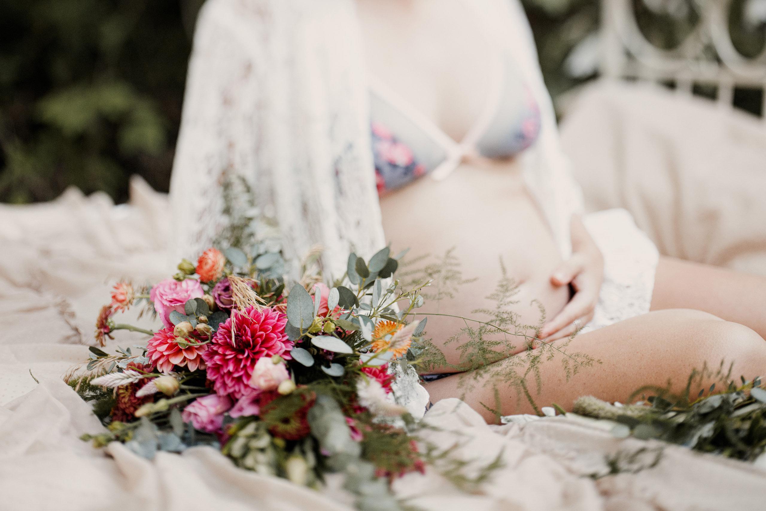 outdoor boudoir style lingerie pregnant bed forest vintage