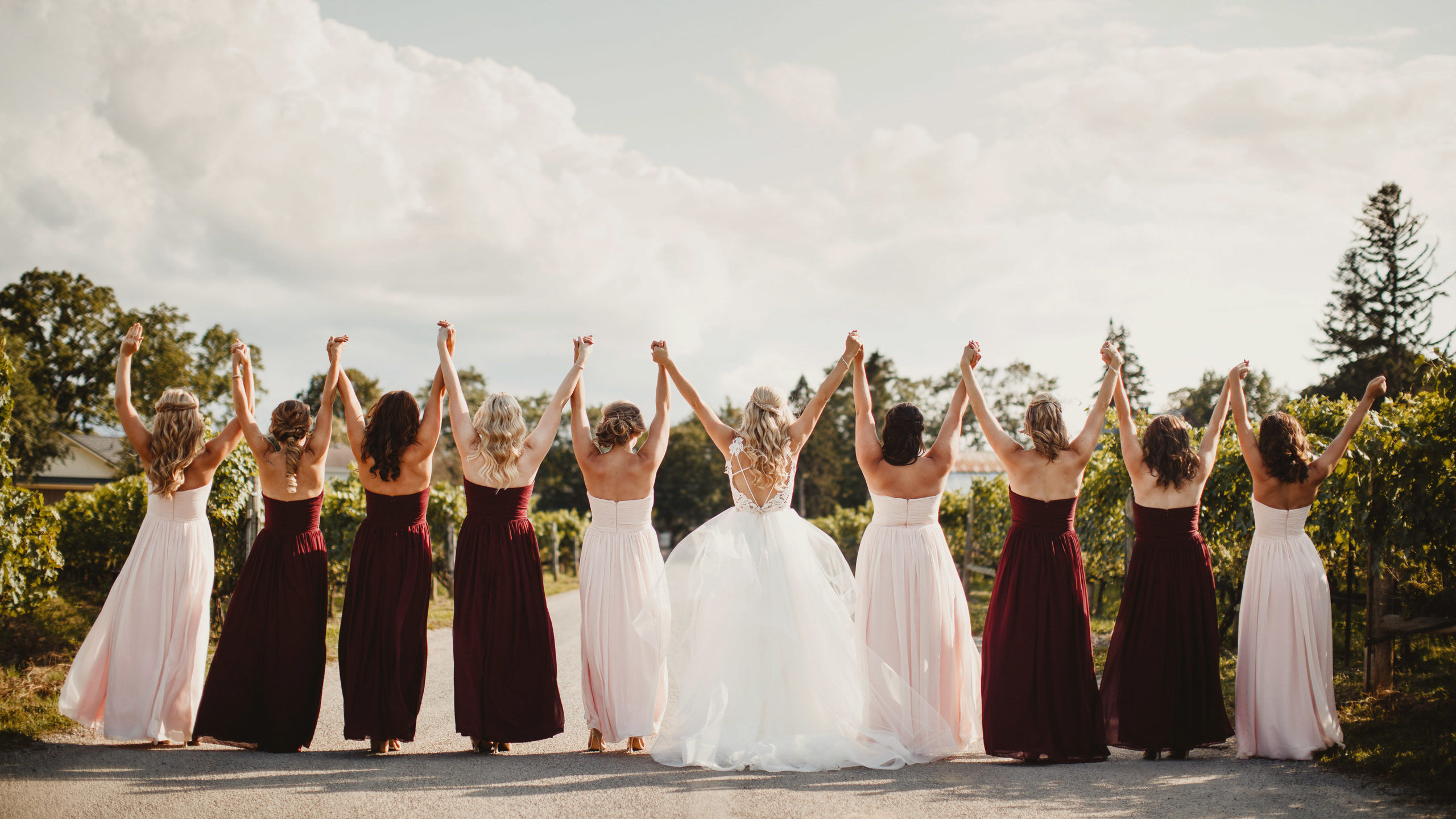Ravine Vineyard Wedding Maroon Bridesmaids Niagara photographer