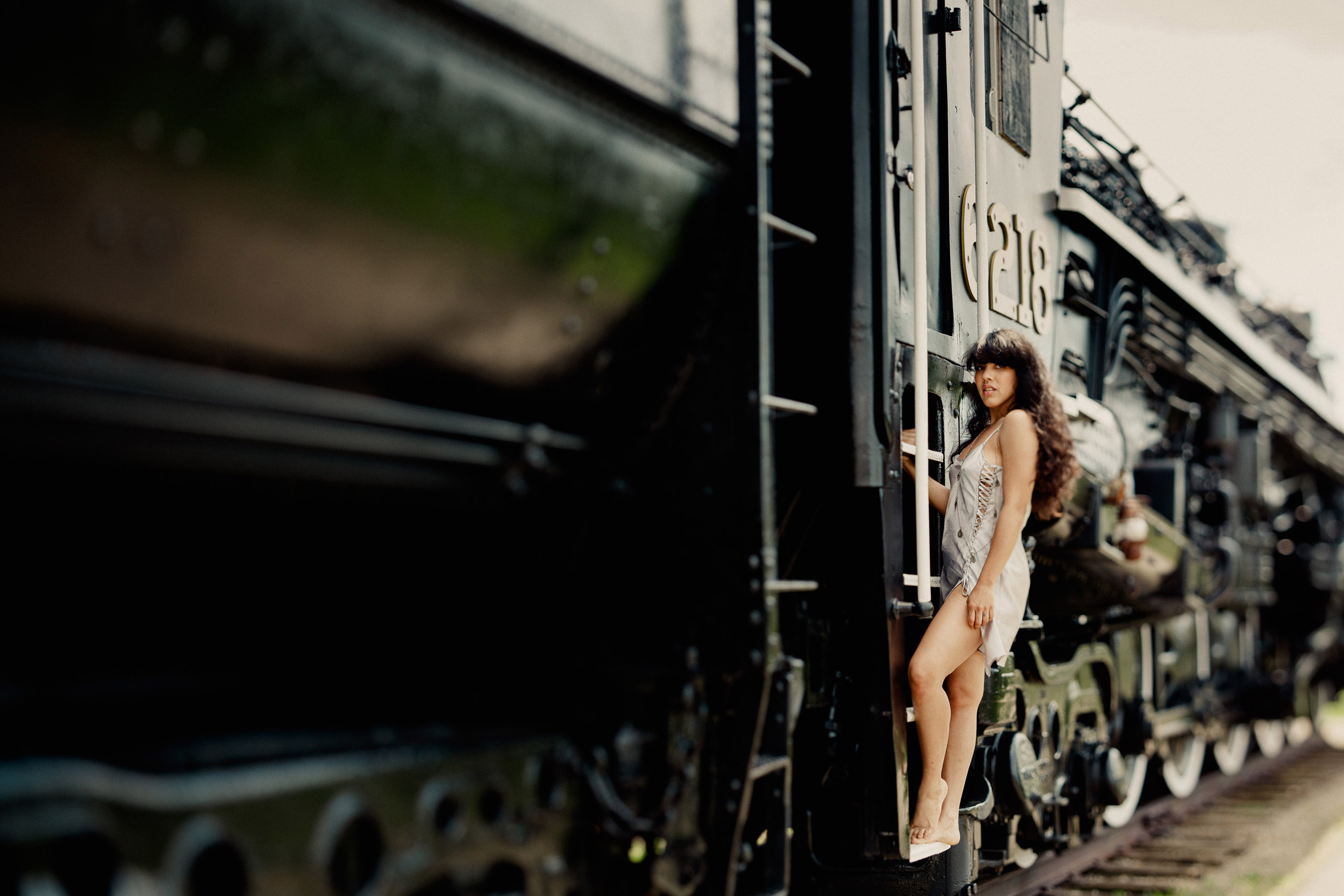 outdoor boudoir afterglow train railway girl sexy photographer style long hair