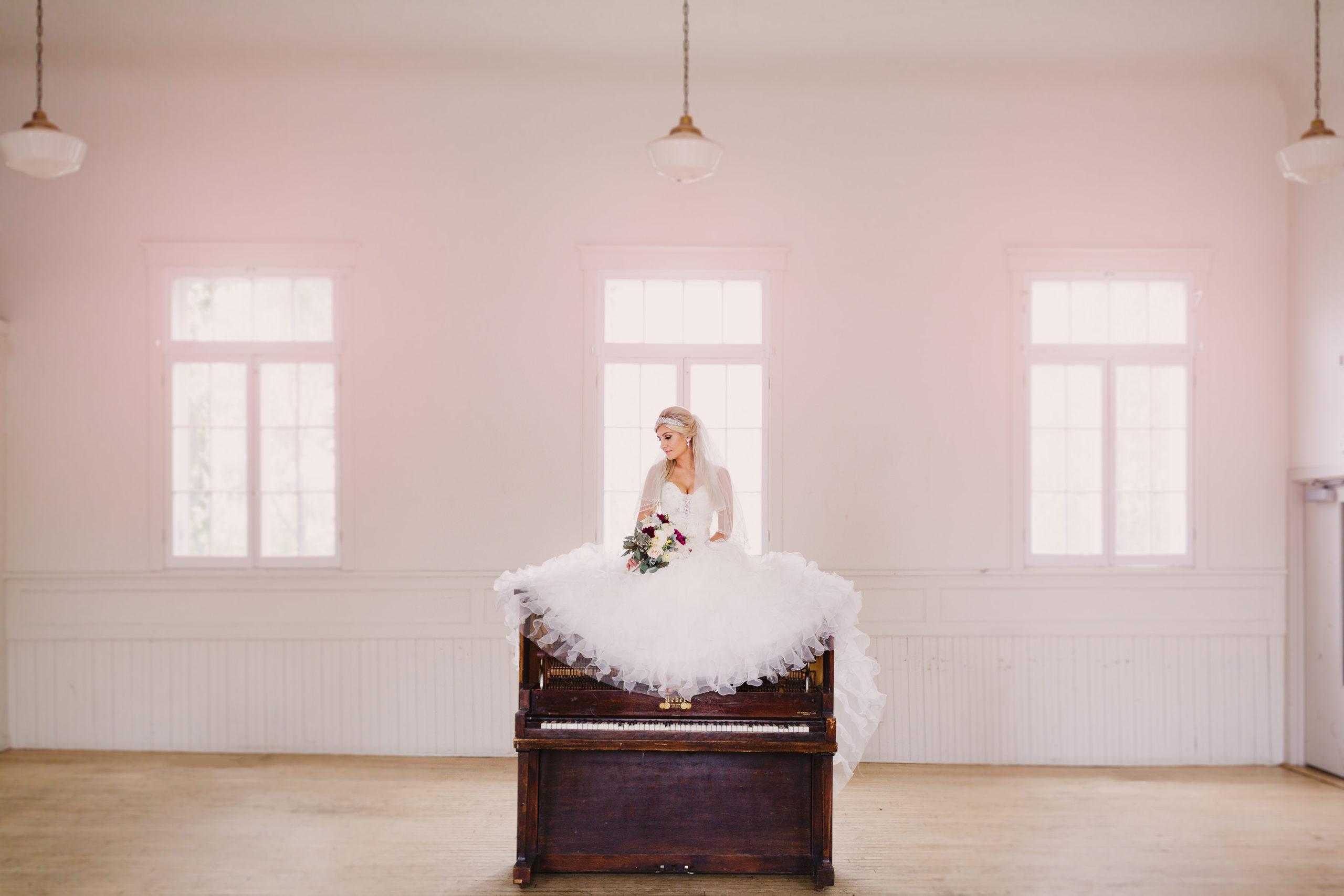 Bride on piano white pink vintage toronto hamilton