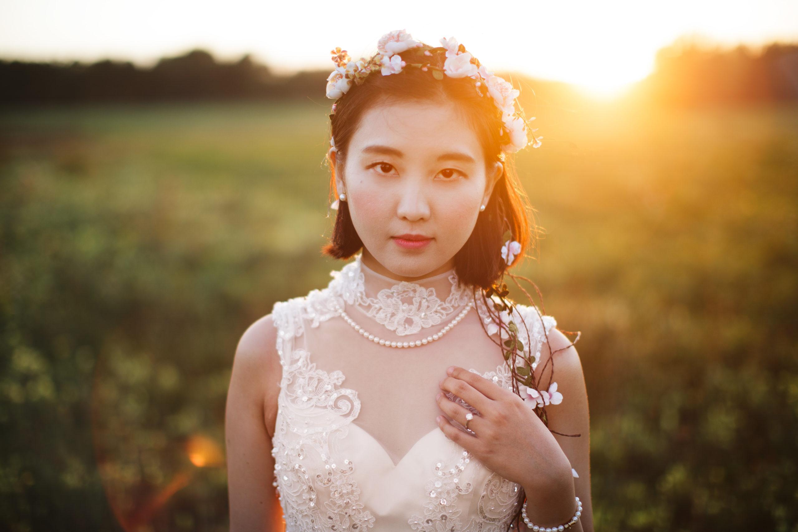 bride field sunset niagara on the lake wedding