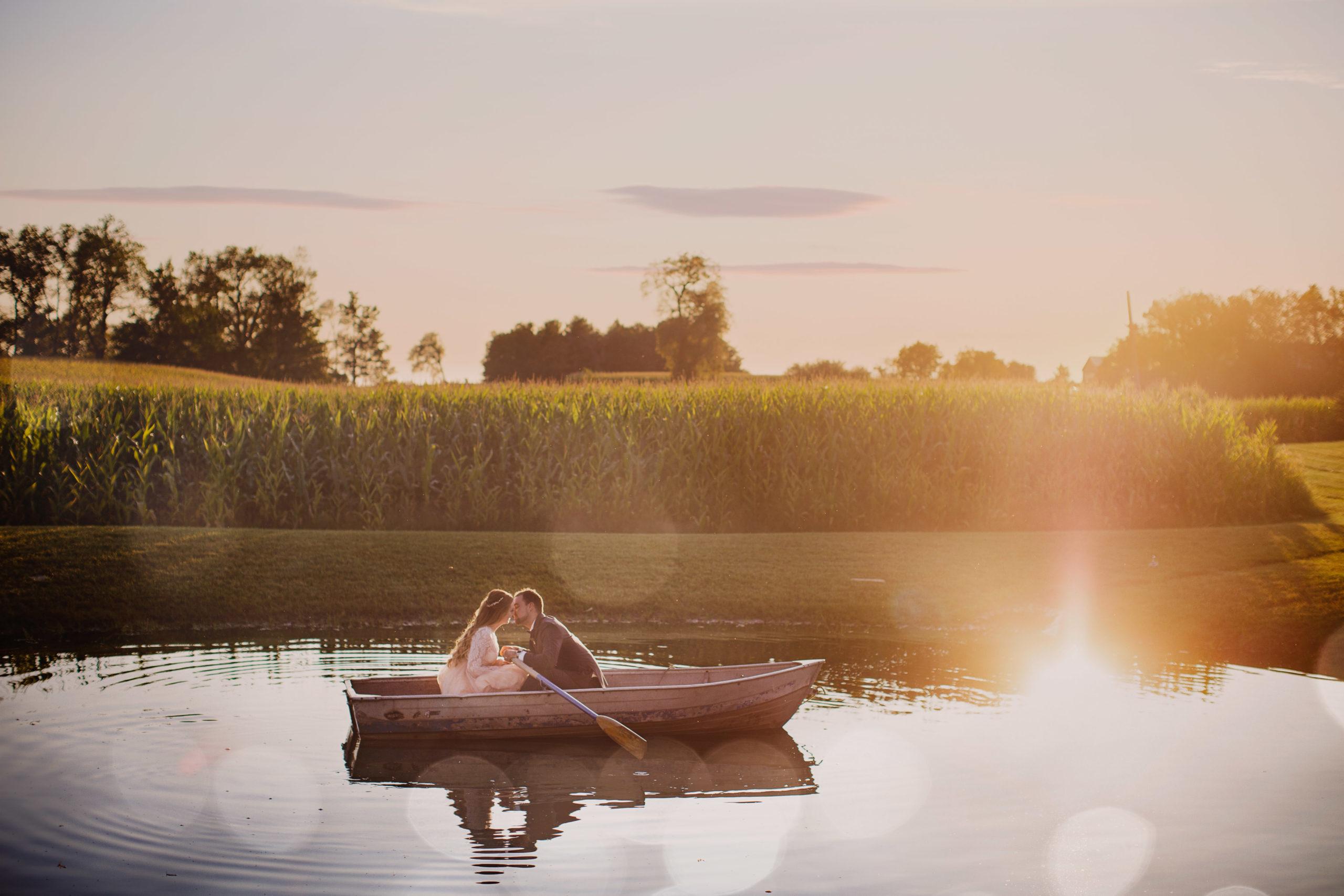 fairytale wedding niagara boat kiss water