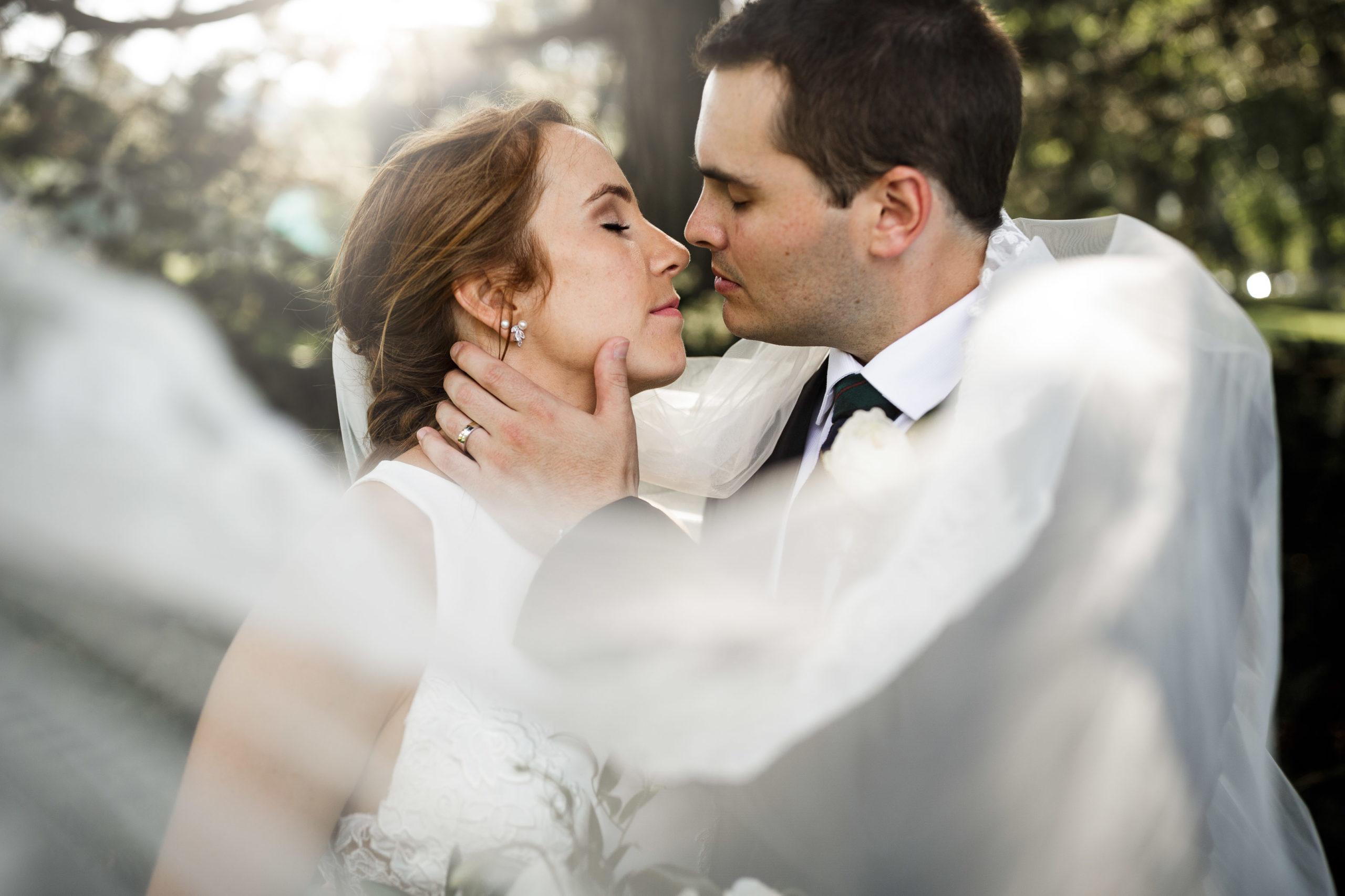 wind veil kiss romance hamilton wedding