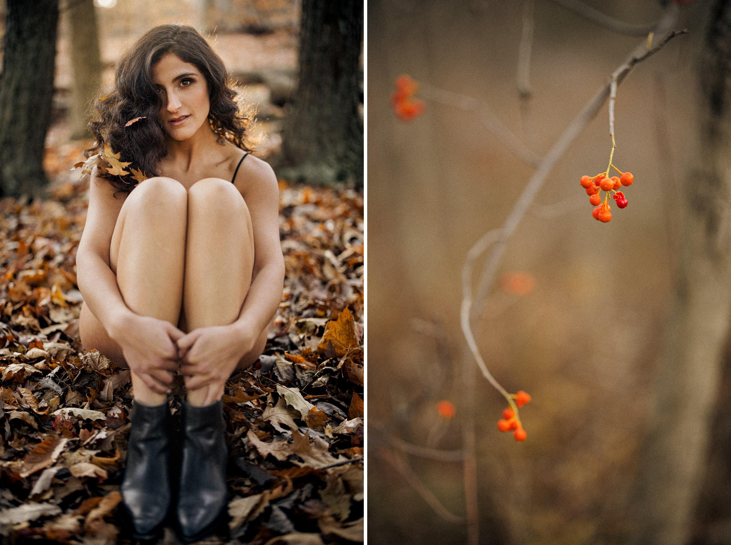 fall outdoor leaves boudoir black lingerie niagara photographer afterglow