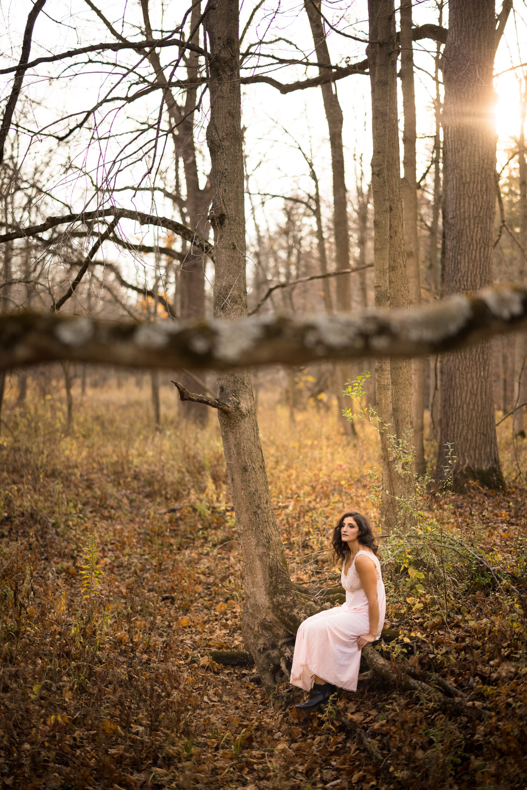 classic outdoor boudoir pink dress art hamilton photographer afterglow