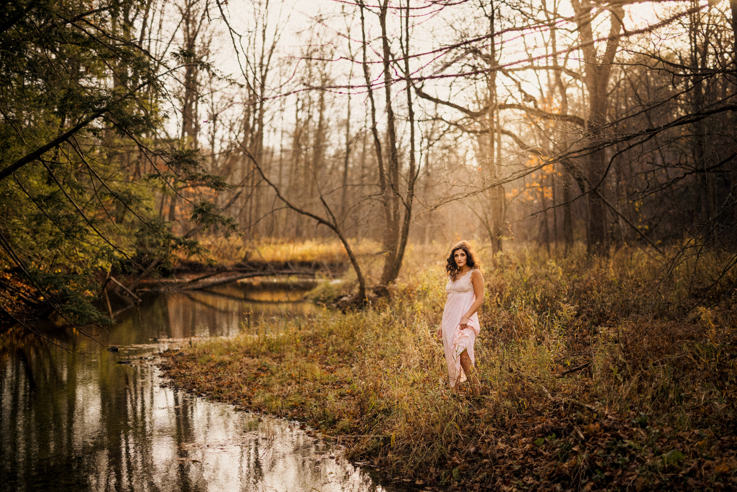 girl pink nighty boudoir outdoor fall autum leaves river afterglow