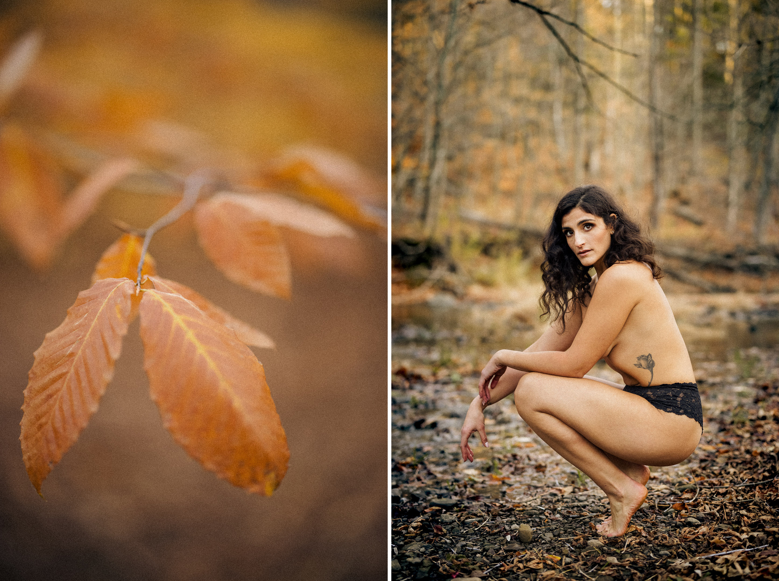 outdoor boudoir photographer topless forest yellow leaves afterglow