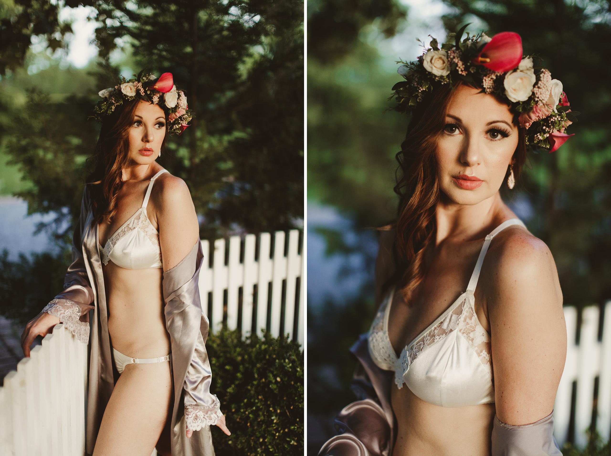 bridal boudoir niagara photographer afterglow fine art flower crown