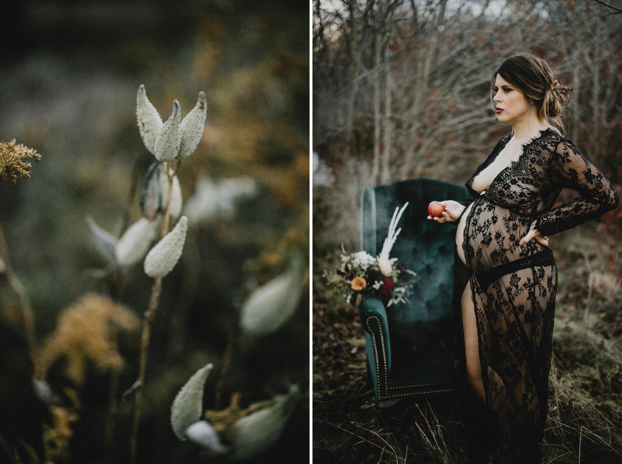 outdoor maternity boudoir niagara style black lace fall autumn