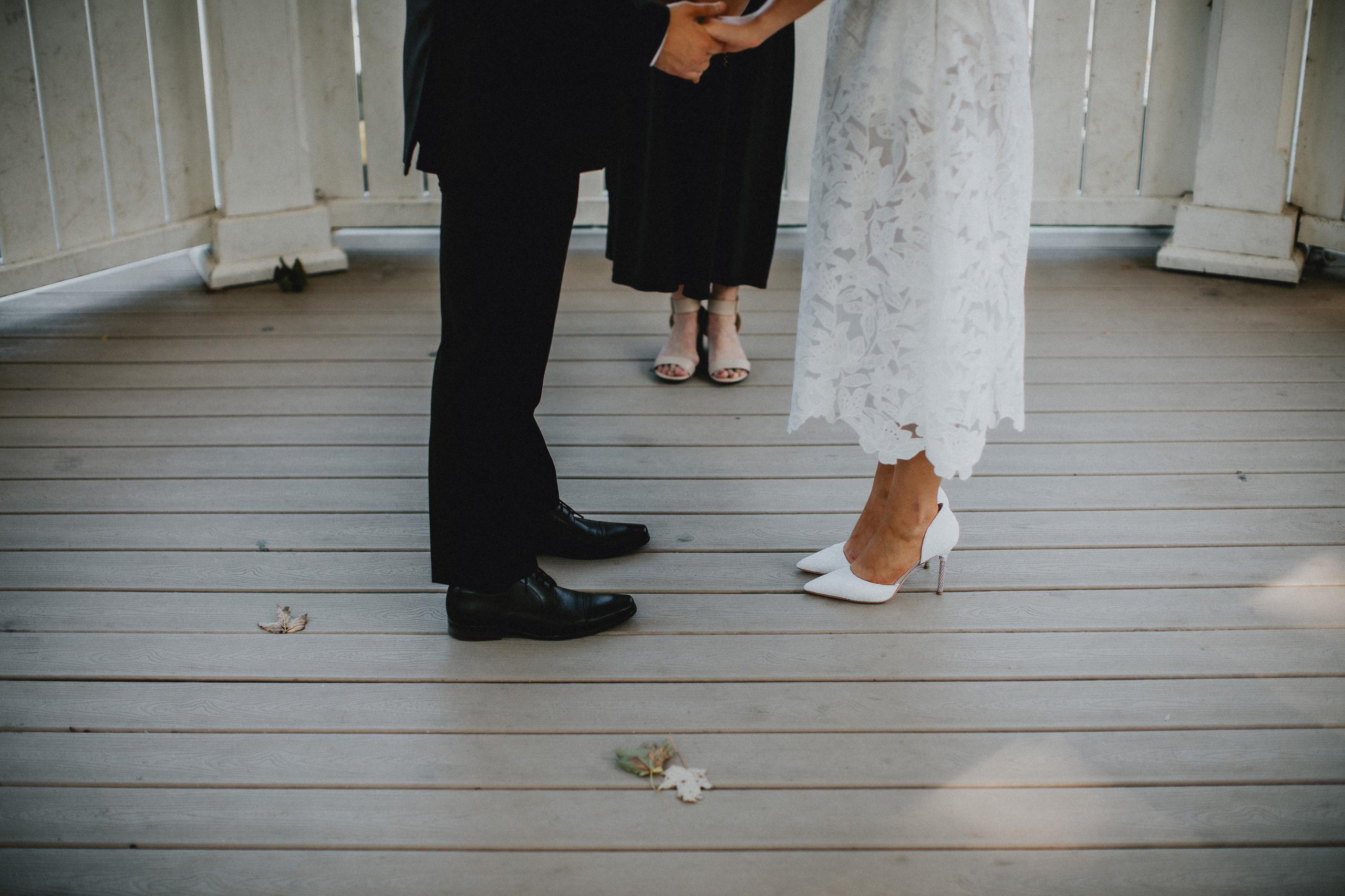 small wedding white gazebo niagara on the lake film photographer