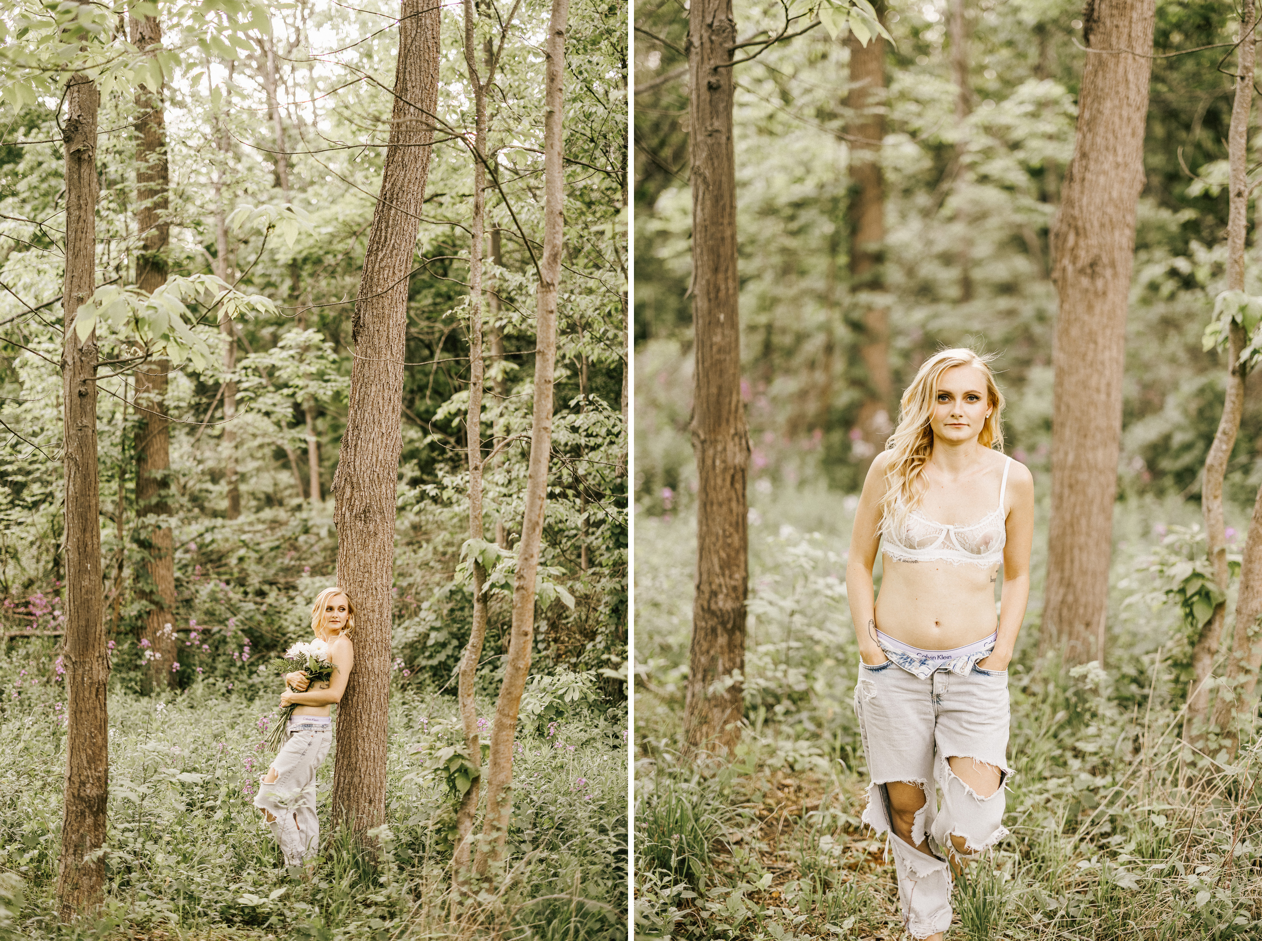 forest boudoir bride niagara ripped jeans