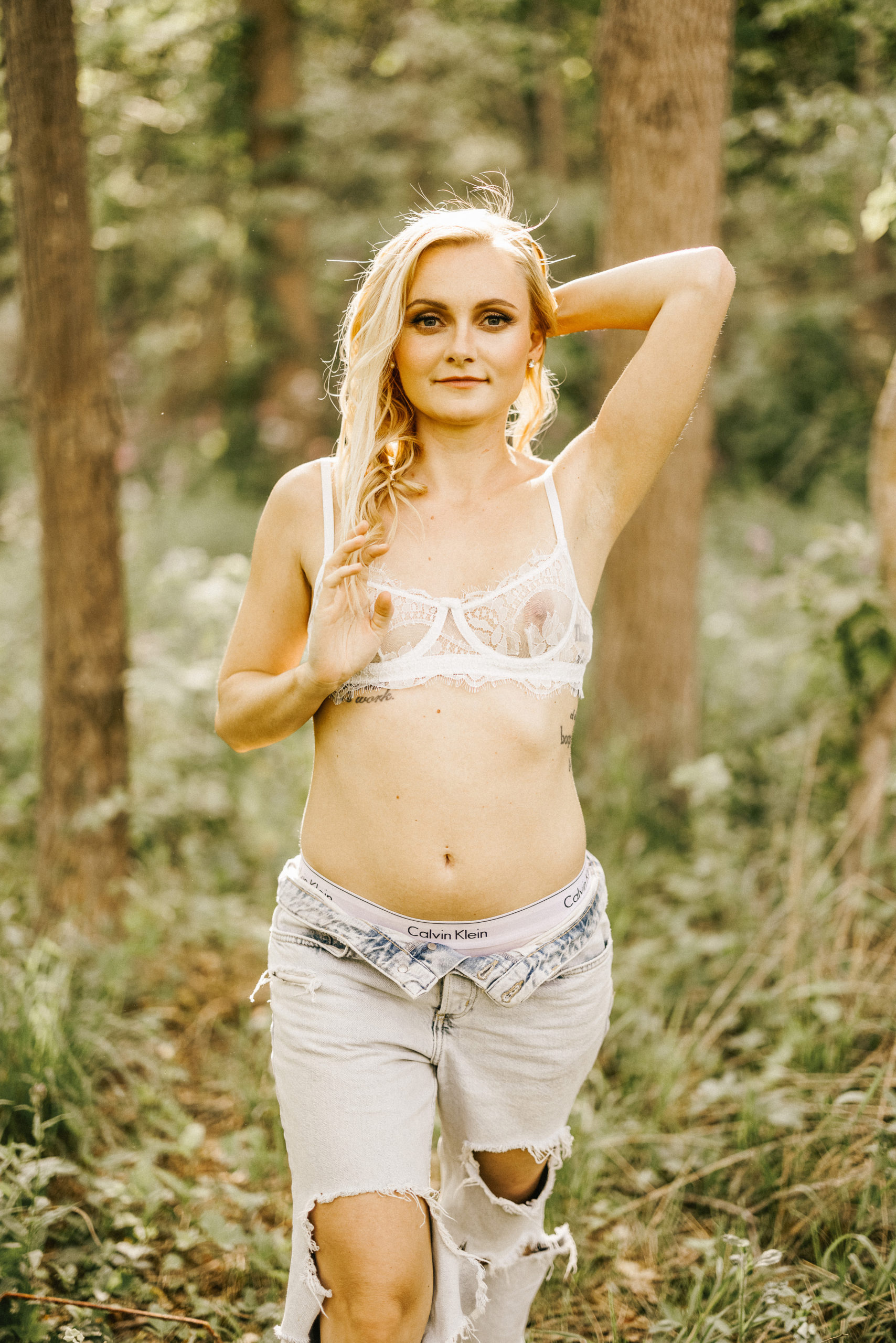 blonde bride boudoir outdoor forest southcoast beauty sensual