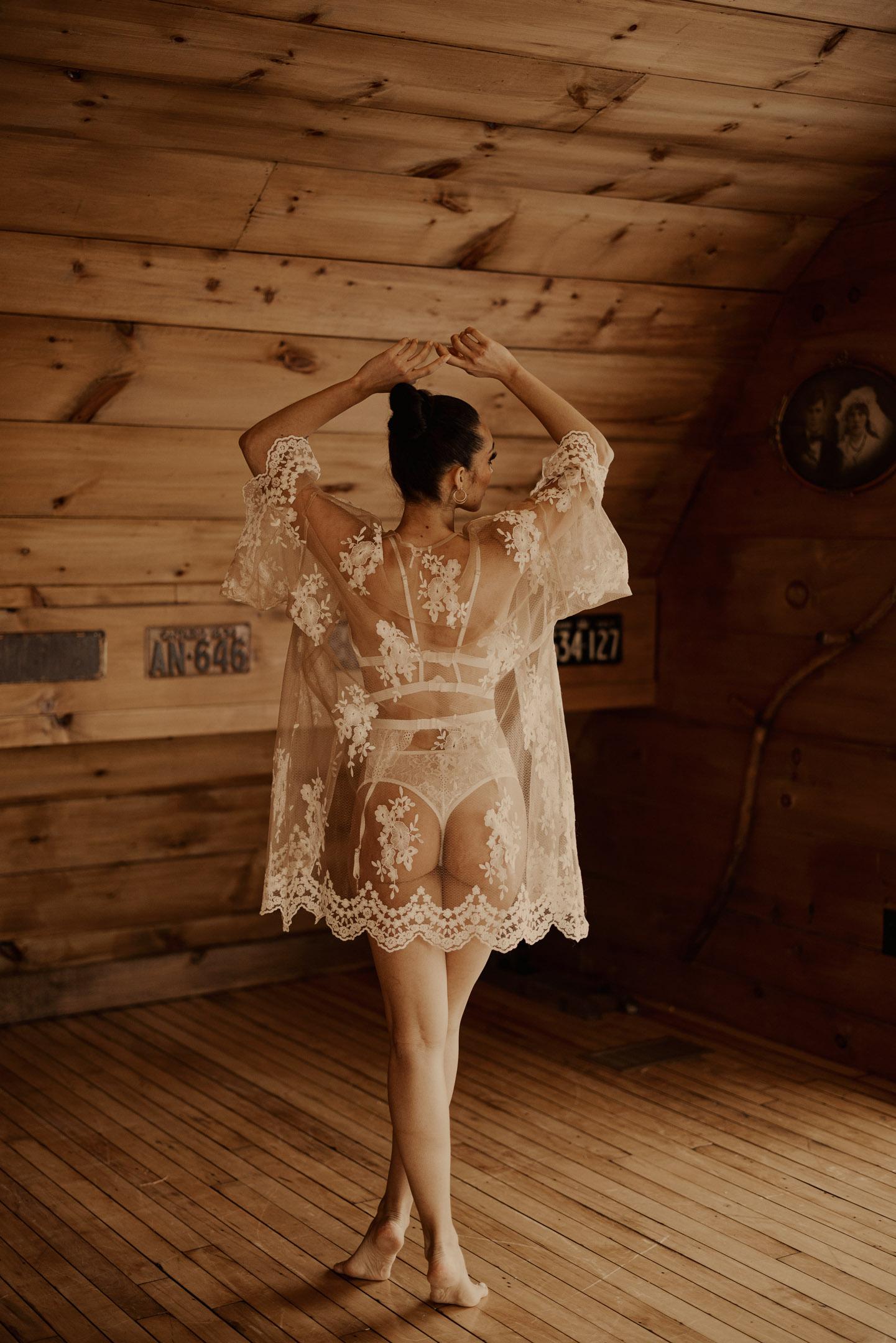 Bridal boudoir white lace barn natural light niagara
