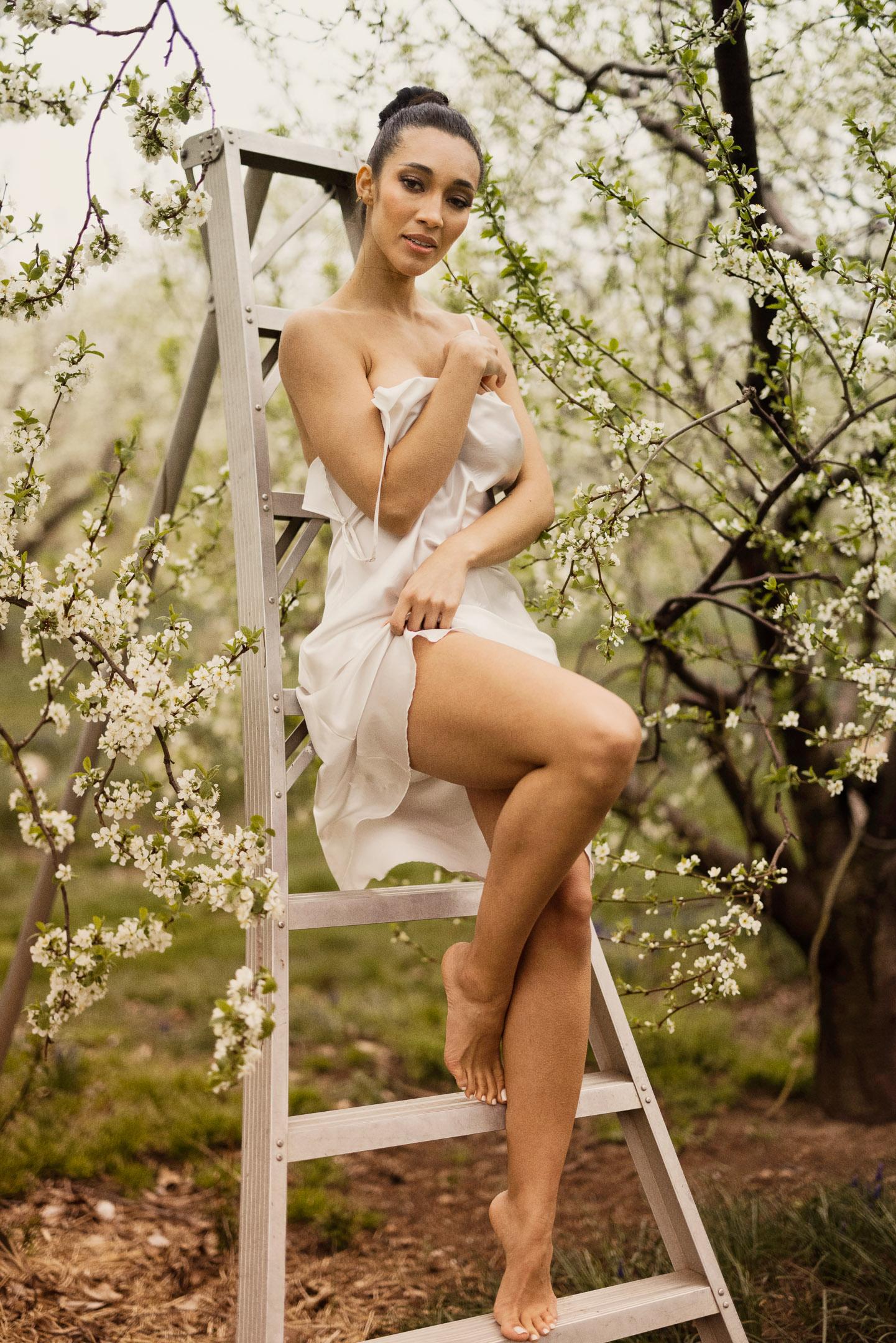 outdoor boudoir sexy slip niagara bride orchard