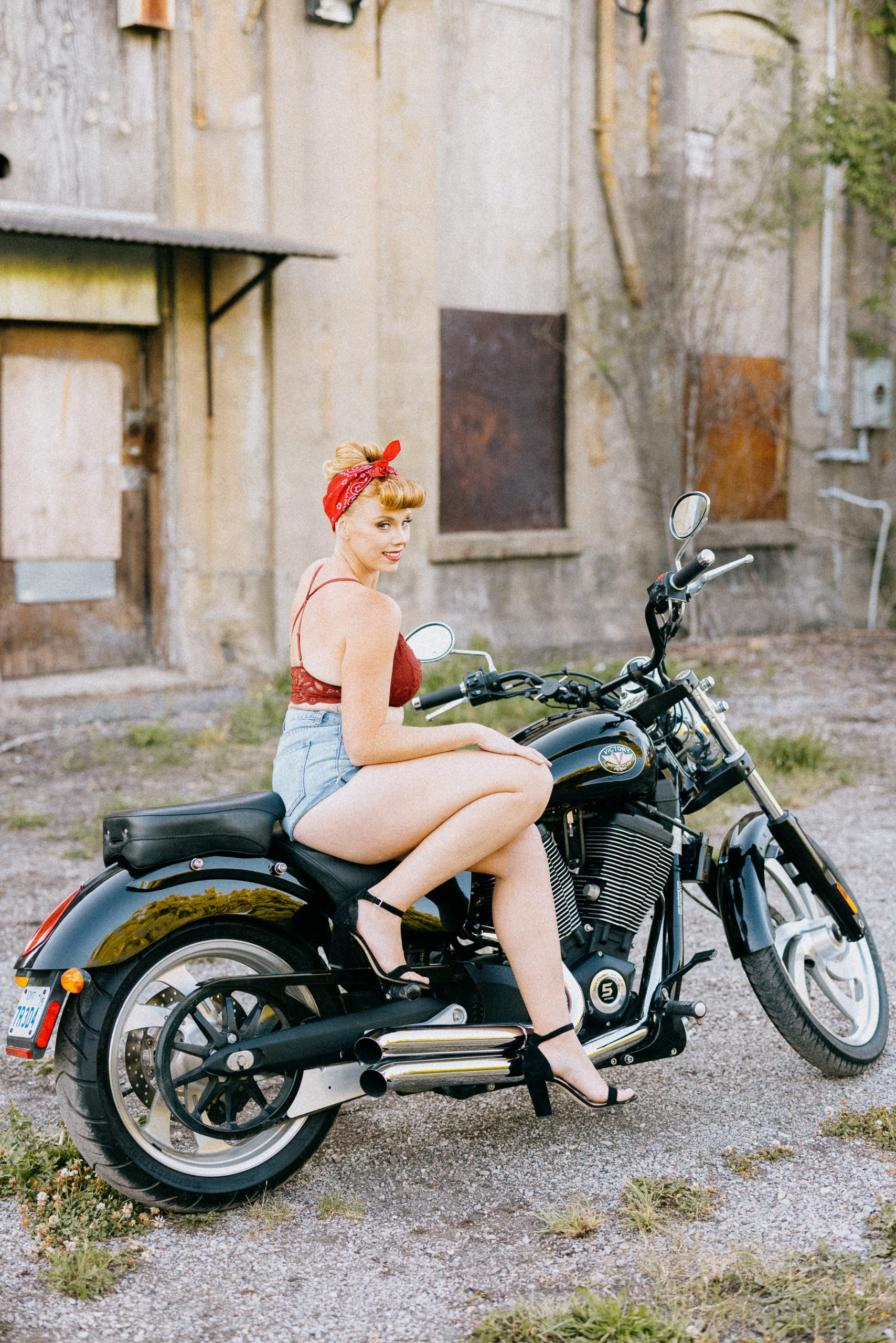 curvy beautiful mom boudoir sexy outdoor motorcycle niagara photographer