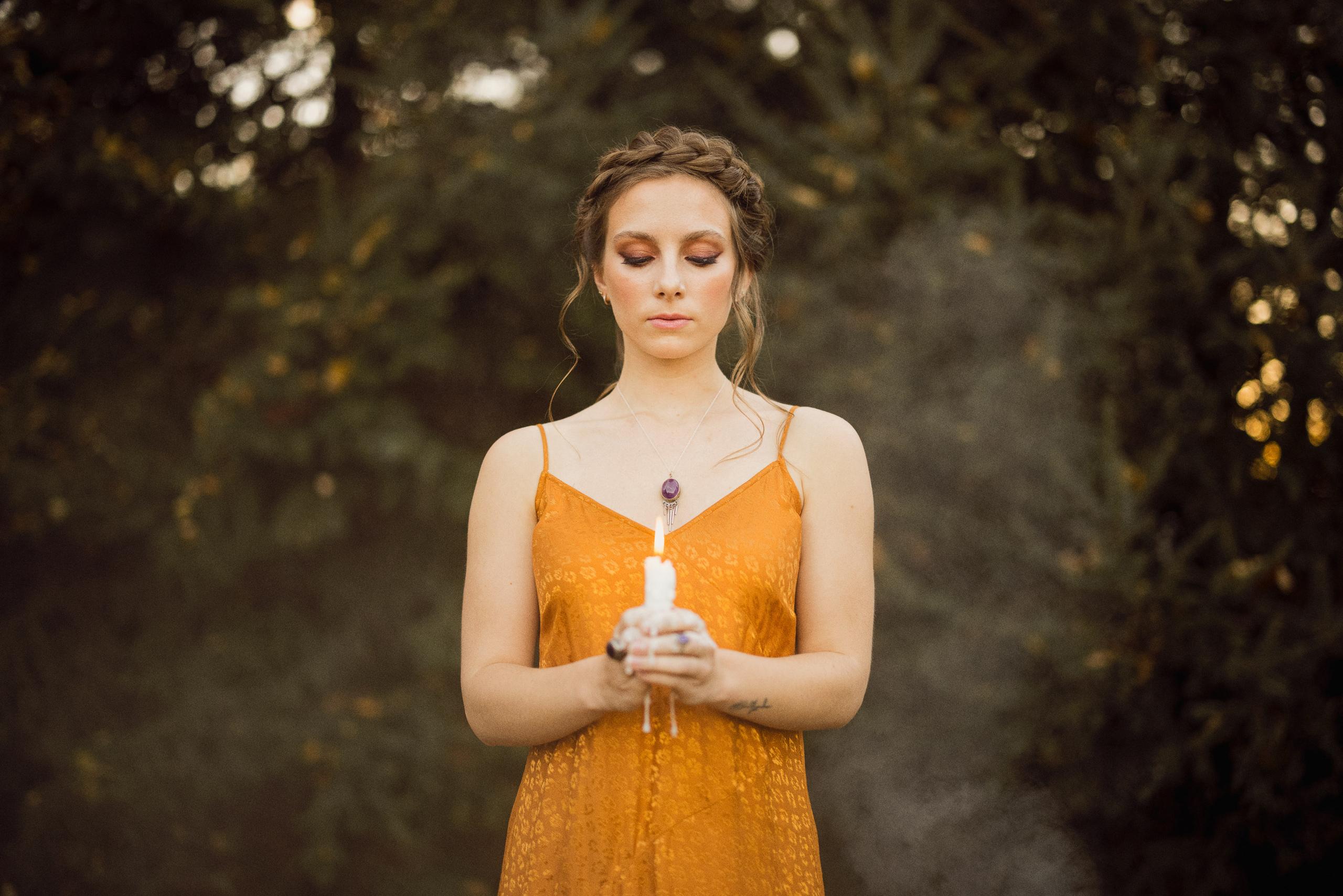 spooky fall bridesmaid golden dress niagara afterglow images